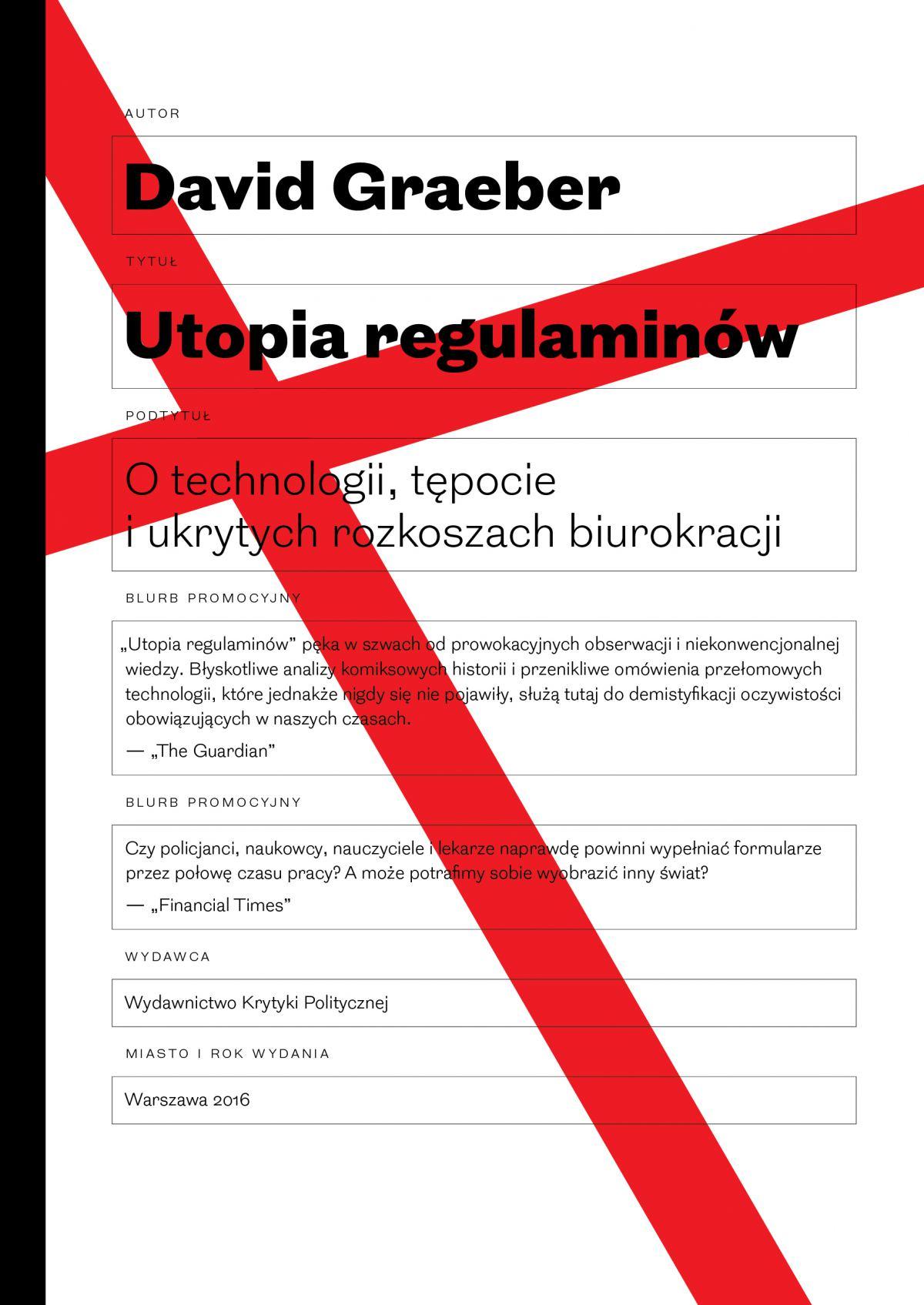 Utopia regulaminów. O technologii, tępocie i ukrytych rozkoszach biurokracji - Ebook (Książka EPUB) do pobrania w formacie EPUB