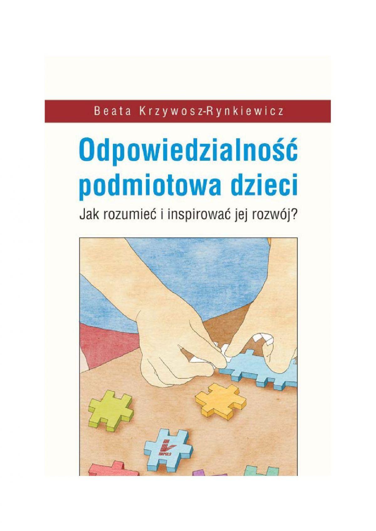 Odpowiedzialność podmiotowa dzieci - Ebook (Książka PDF) do pobrania w formacie PDF