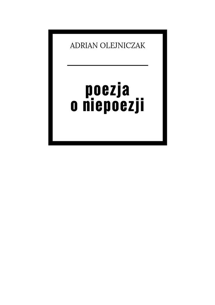 Poezja o niepoezji - Ebook (Książka EPUB) do pobrania w formacie EPUB