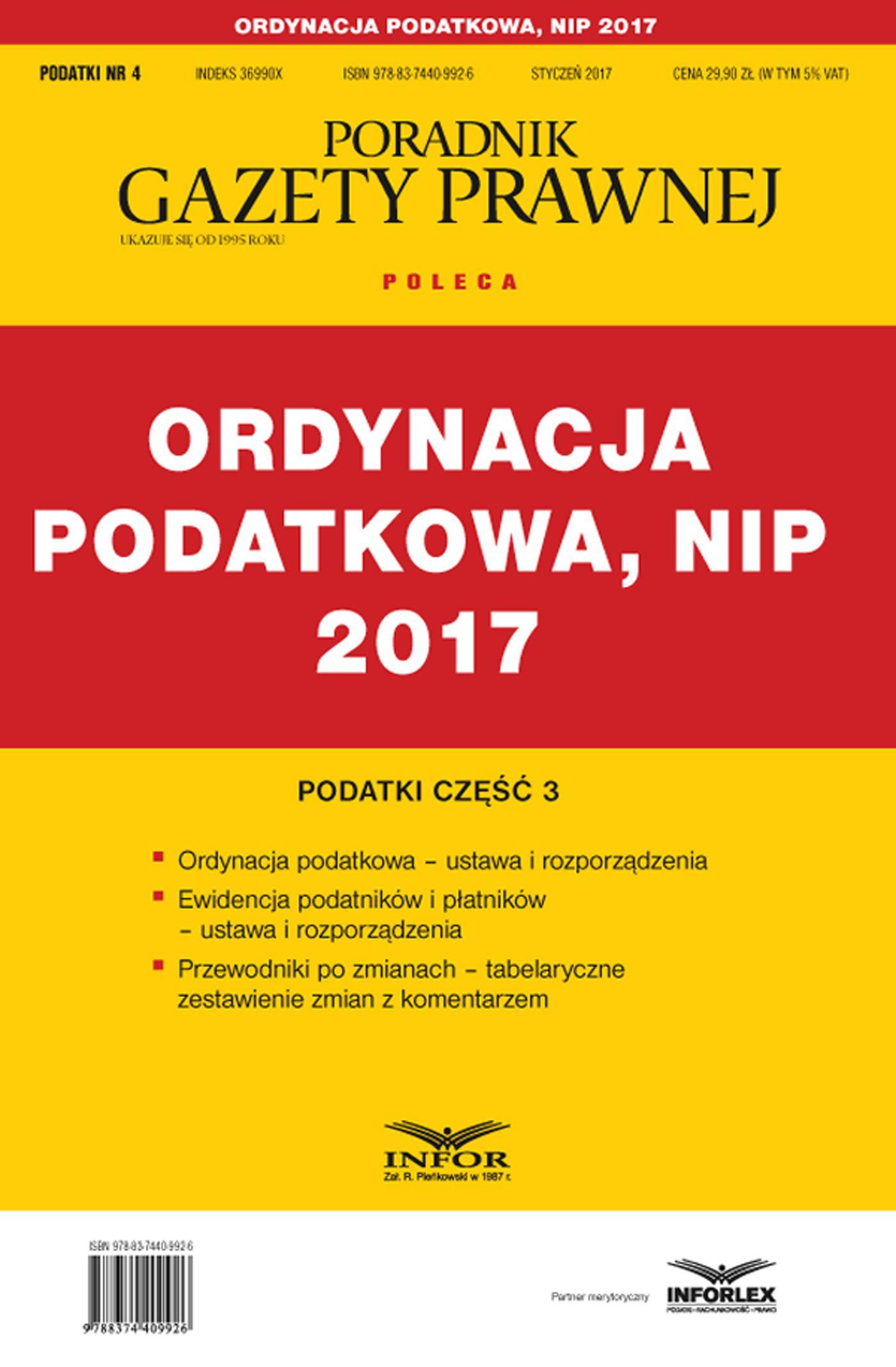 Podatki cz. 3 Ordynacja podatkowa, NIP 2017 - Ebook (Książka PDF) do pobrania w formacie PDF