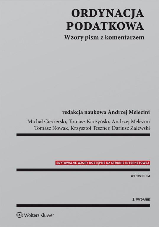Ordynacja podatkowa. Wzory pism z komentarzem - Ebook (Książka PDF) do pobrania w formacie PDF
