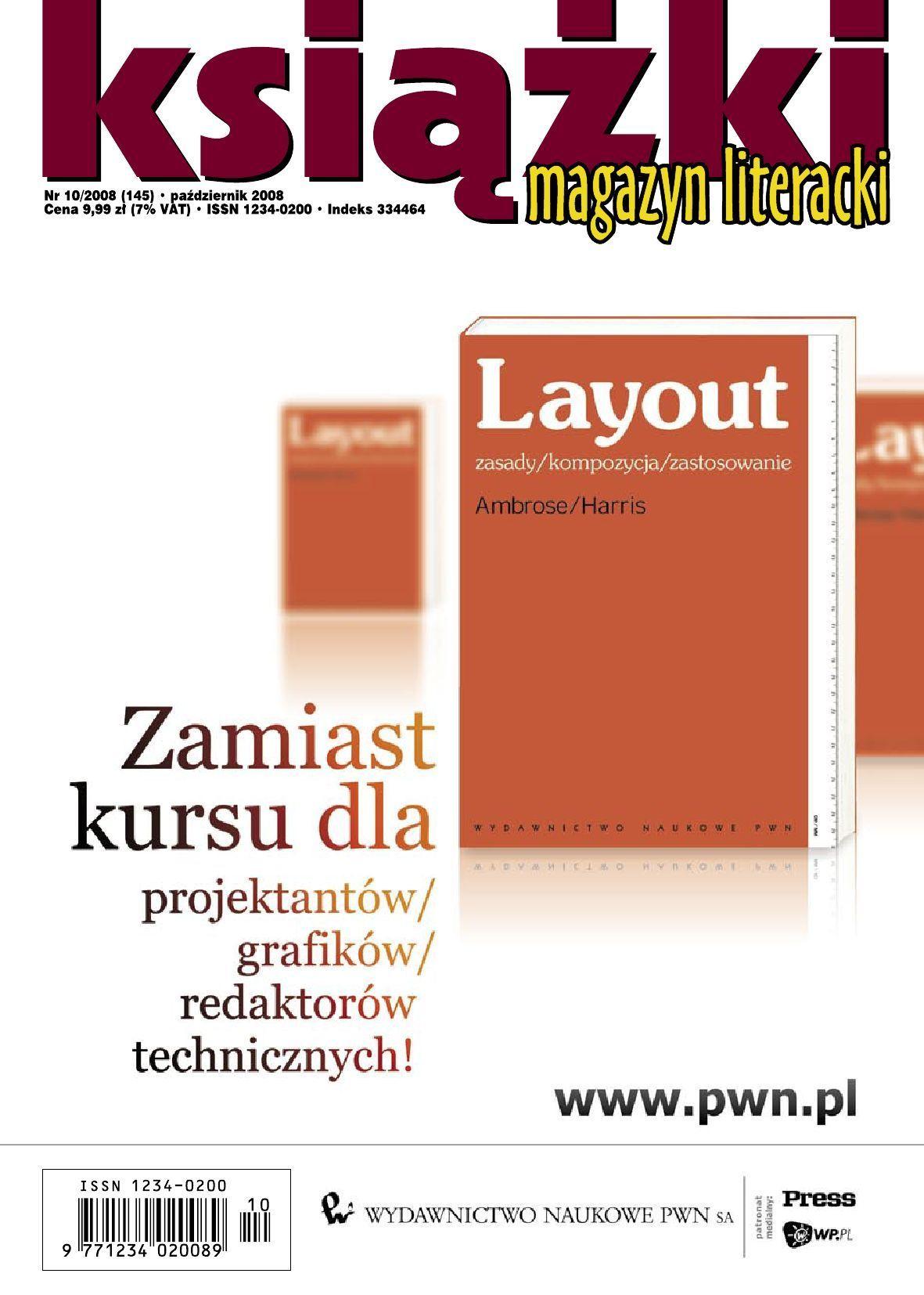 Magazyn Literacki KSIĄŻKI - Nr 10/2008 (145) - Ebook (Książka PDF) do pobrania w formacie PDF