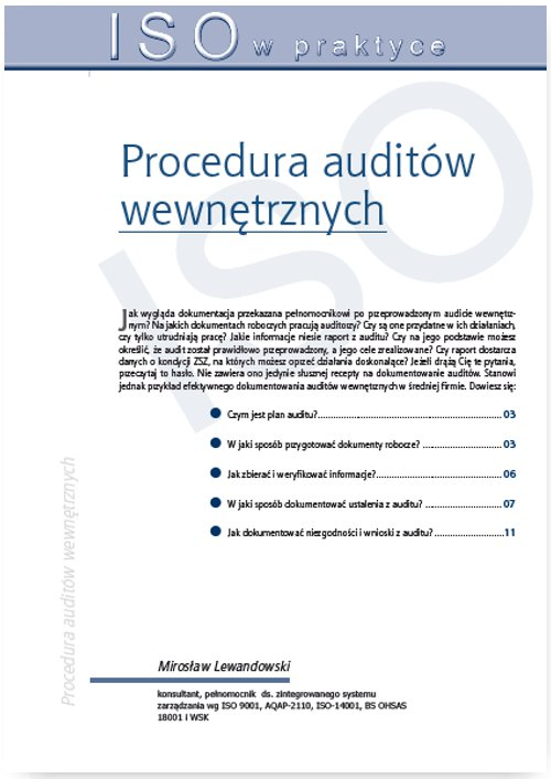 Procedura auditów wewnętrznych - Ebook (Książka PDF) do pobrania w formacie PDF