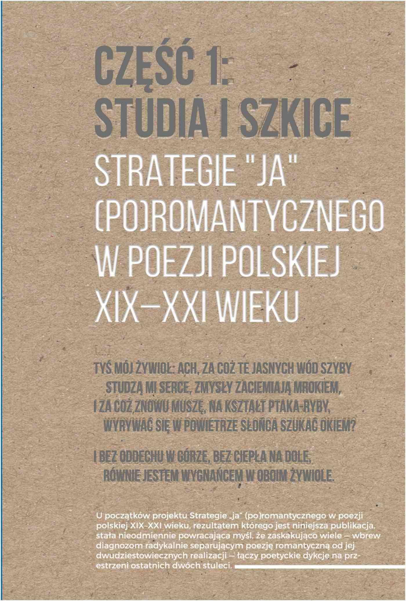 """Strategie """"ja"""" (po)romantycznego w poezji polskiej XIX-XXI wieku. Część 1: Studia i szkice. Część 2: Rozmowy - Ebook (Książka PDF) do pobrania w formacie PDF"""