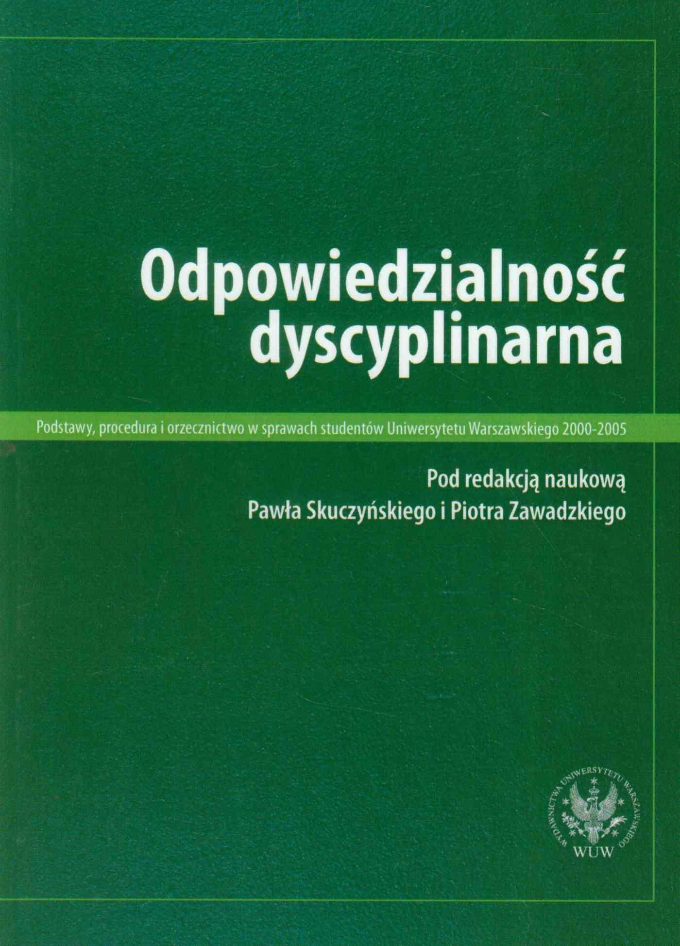 Odpowiedzialność dyscyplinarna - Ebook (Książka PDF) do pobrania w formacie PDF