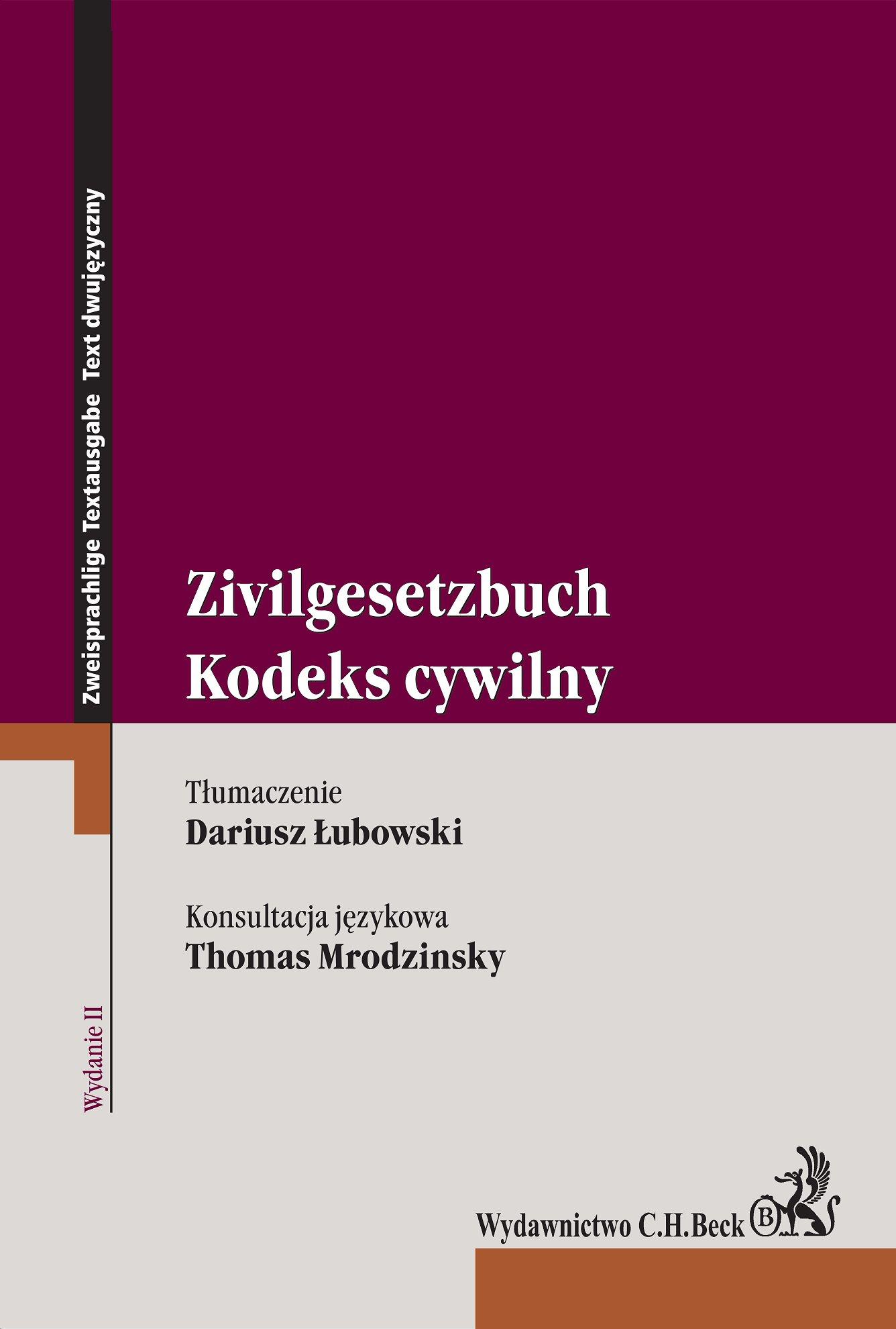 Kodeks cywilny. Zivilgesetzbuch. Wydanie 2 - Ebook (Książka PDF) do pobrania w formacie PDF
