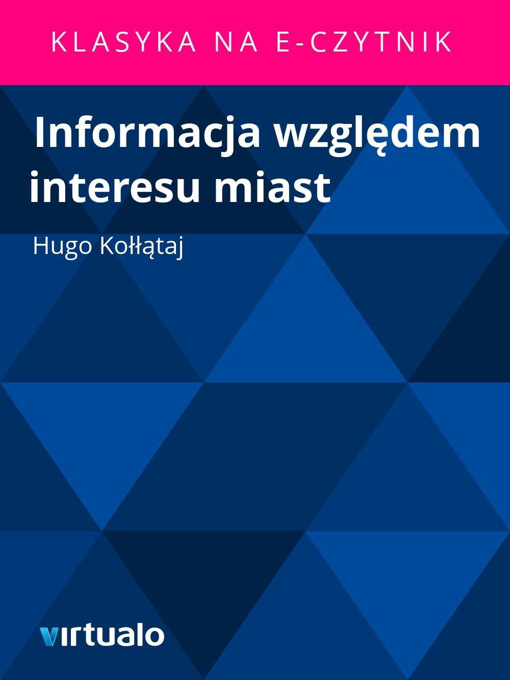 Informacja względem interesu miast - Ebook (Książka EPUB) do pobrania w formacie EPUB