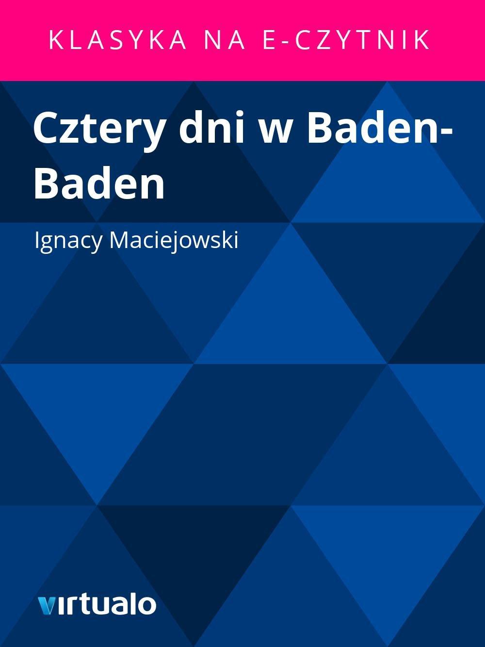 Cztery dni w Baden-Baden - Ebook (Książka EPUB) do pobrania w formacie EPUB