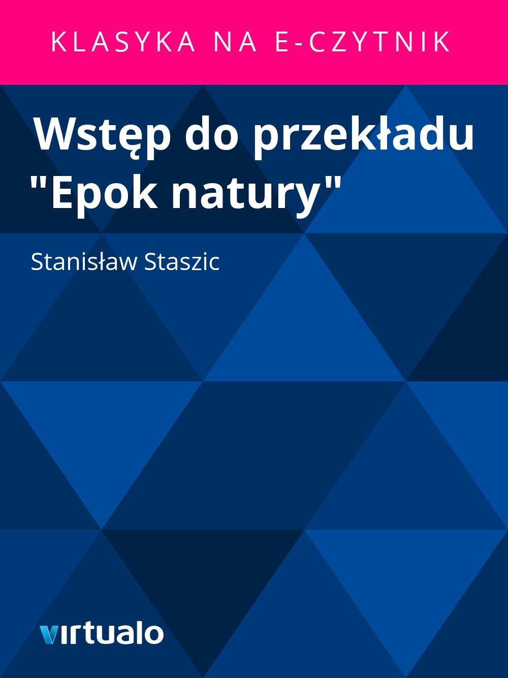 """Wstęp do przekładu """"Epok natury"""" - Ebook (Książka EPUB) do pobrania w formacie EPUB"""