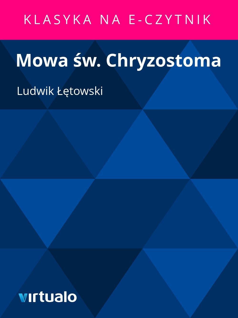 Mowa św. Chryzostoma - Ebook (Książka EPUB) do pobrania w formacie EPUB