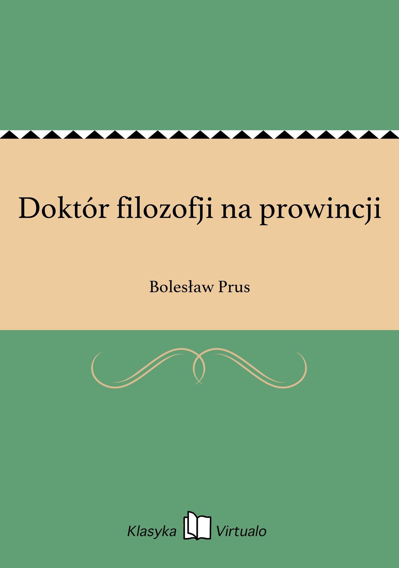 Doktór filozofji na prowincji - Ebook (Książka EPUB) do pobrania w formacie EPUB