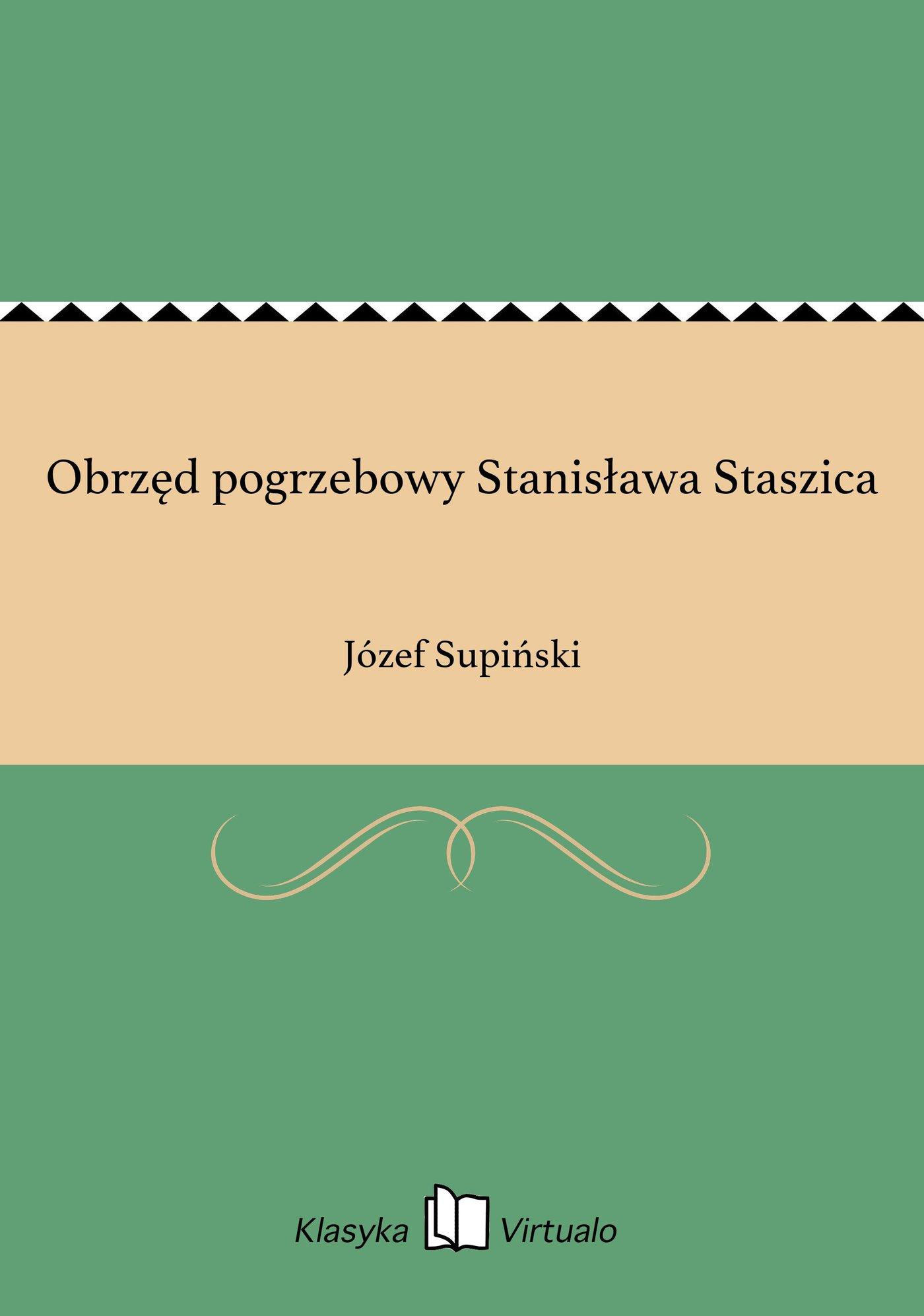 Obrzęd pogrzebowy Stanisława Staszica - Ebook (Książka EPUB) do pobrania w formacie EPUB