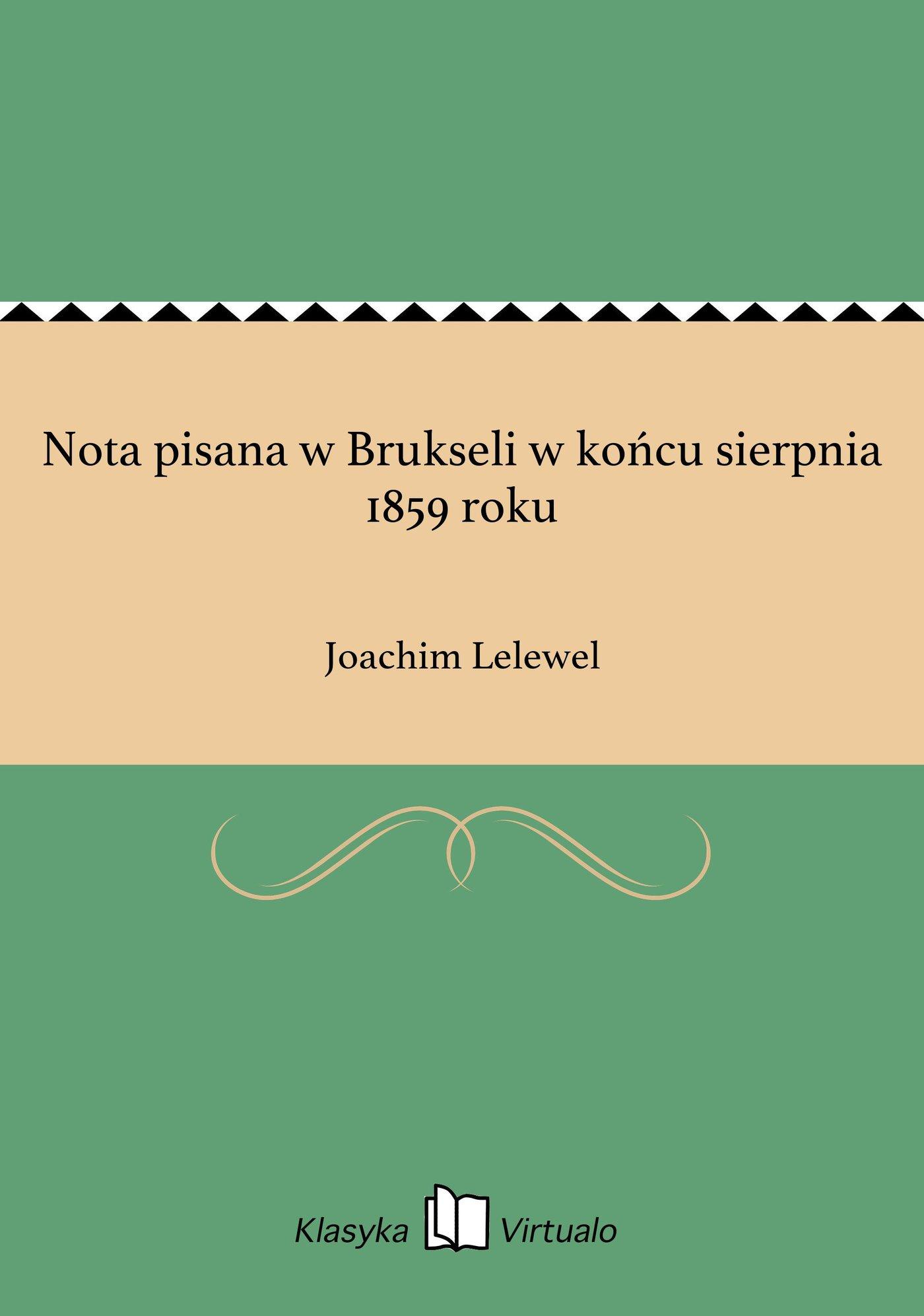 Nota pisana w Brukseli w końcu sierpnia 1859 roku - Ebook (Książka EPUB) do pobrania w formacie EPUB