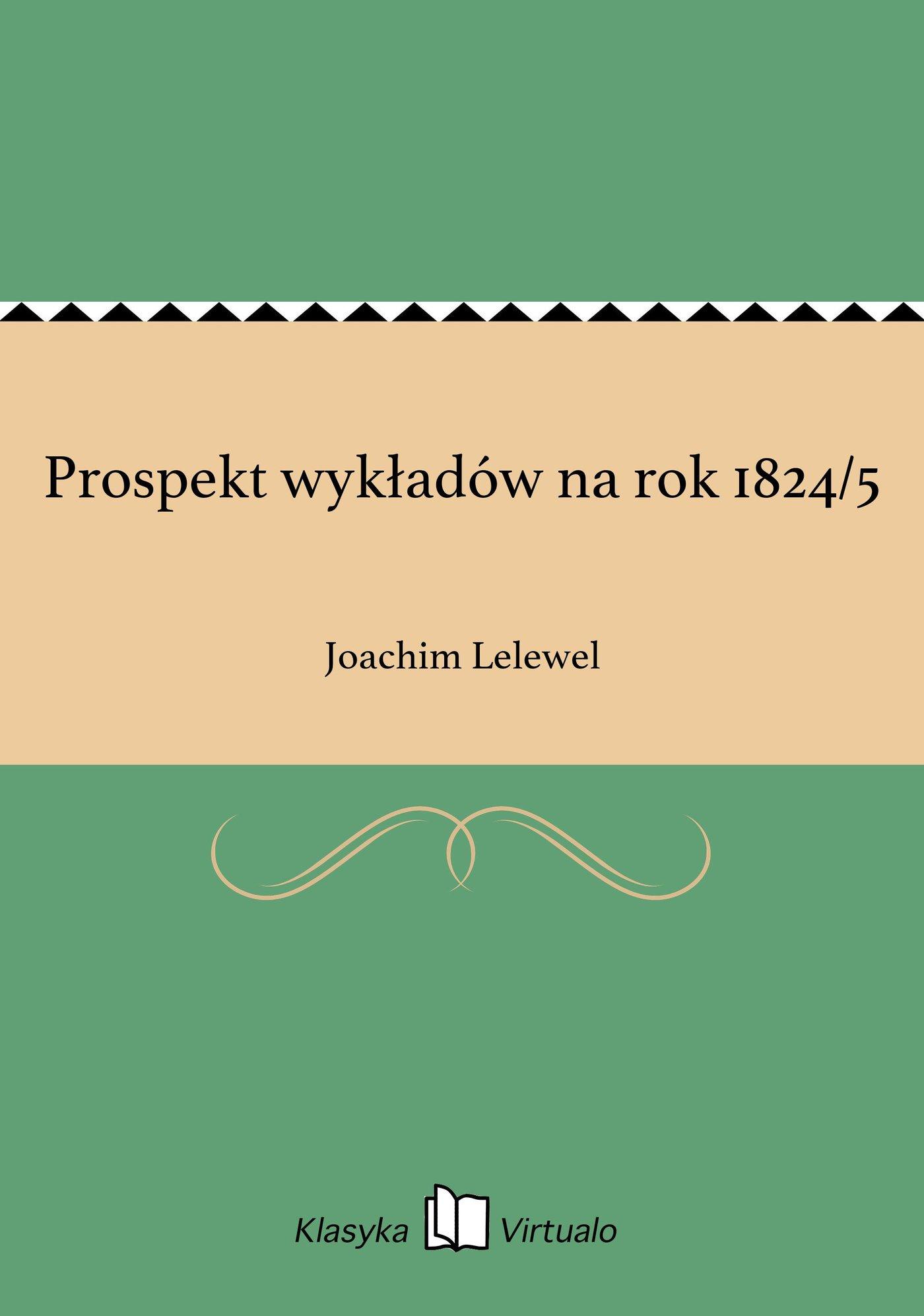 Prospekt wykładów na rok 1824/5 - Ebook (Książka EPUB) do pobrania w formacie EPUB