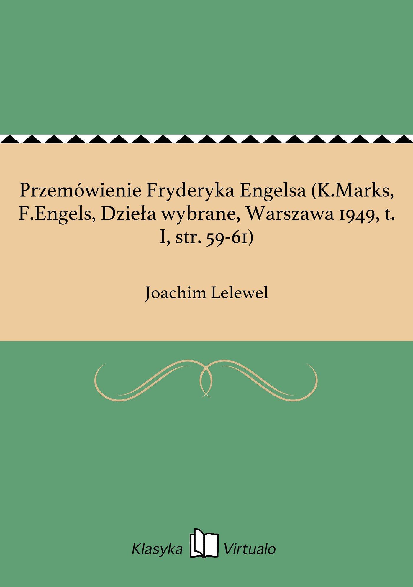 Przemówienie Fryderyka Engelsa (K.Marks, F.Engels, Dzieła wybrane, Warszawa 1949, t. I, str. 59-61) - Ebook (Książka EPUB) do pobrania w formacie EPUB