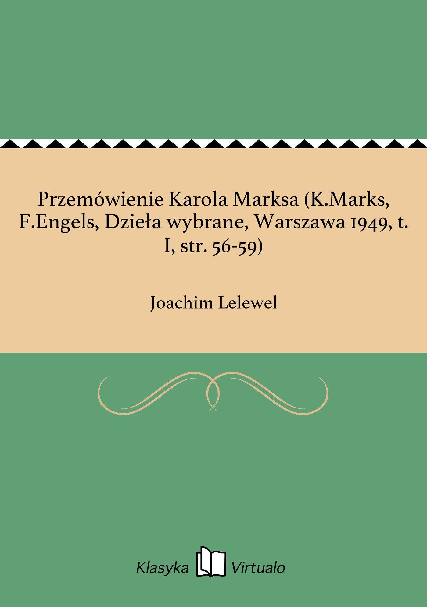 Przemówienie Karola Marksa (K.Marks, F.Engels, Dzieła wybrane, Warszawa 1949, t. I, str. 56-59) - Ebook (Książka EPUB) do pobrania w formacie EPUB