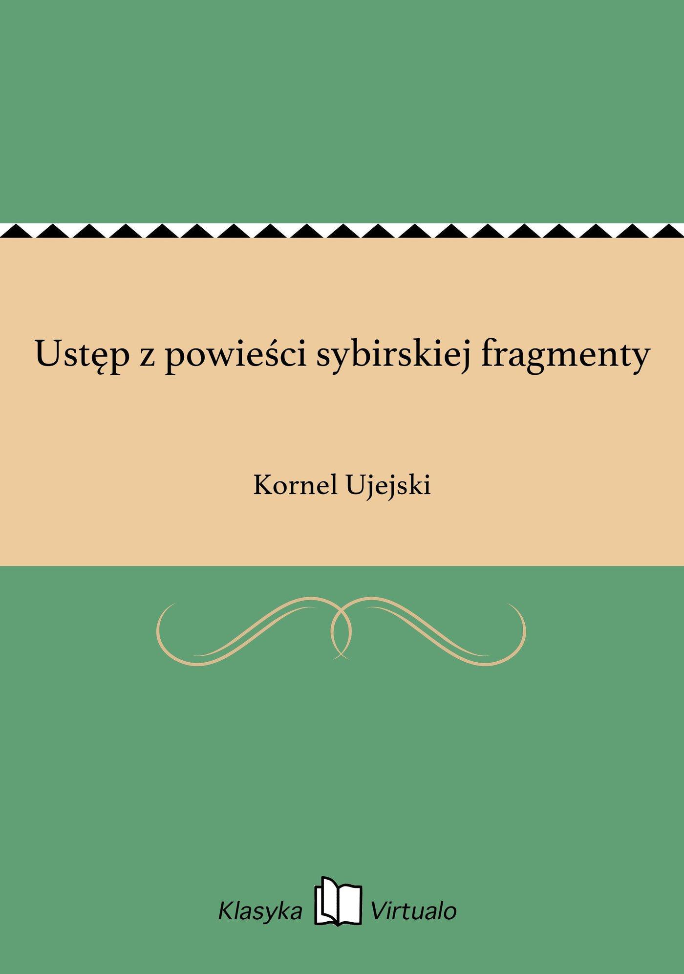 Ustęp z powieści sybirskiej fragmenty - Ebook (Książka EPUB) do pobrania w formacie EPUB