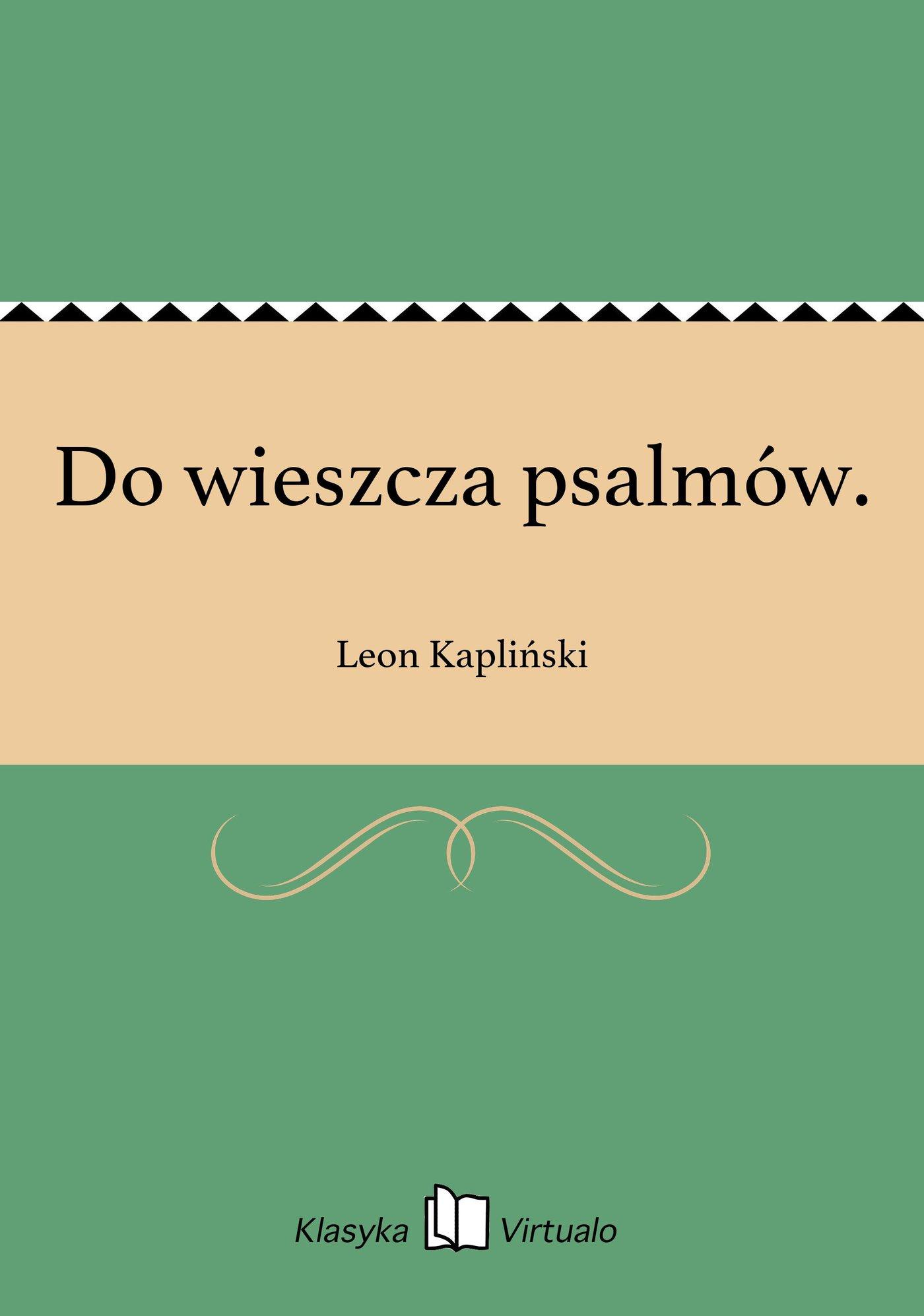 Do wieszcza psalmów. - Ebook (Książka EPUB) do pobrania w formacie EPUB
