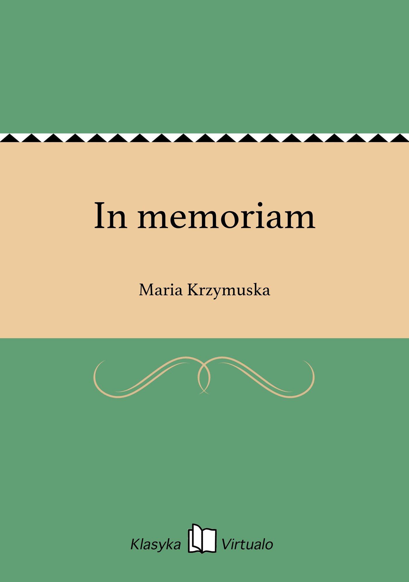 In memoriam - Ebook (Książka EPUB) do pobrania w formacie EPUB