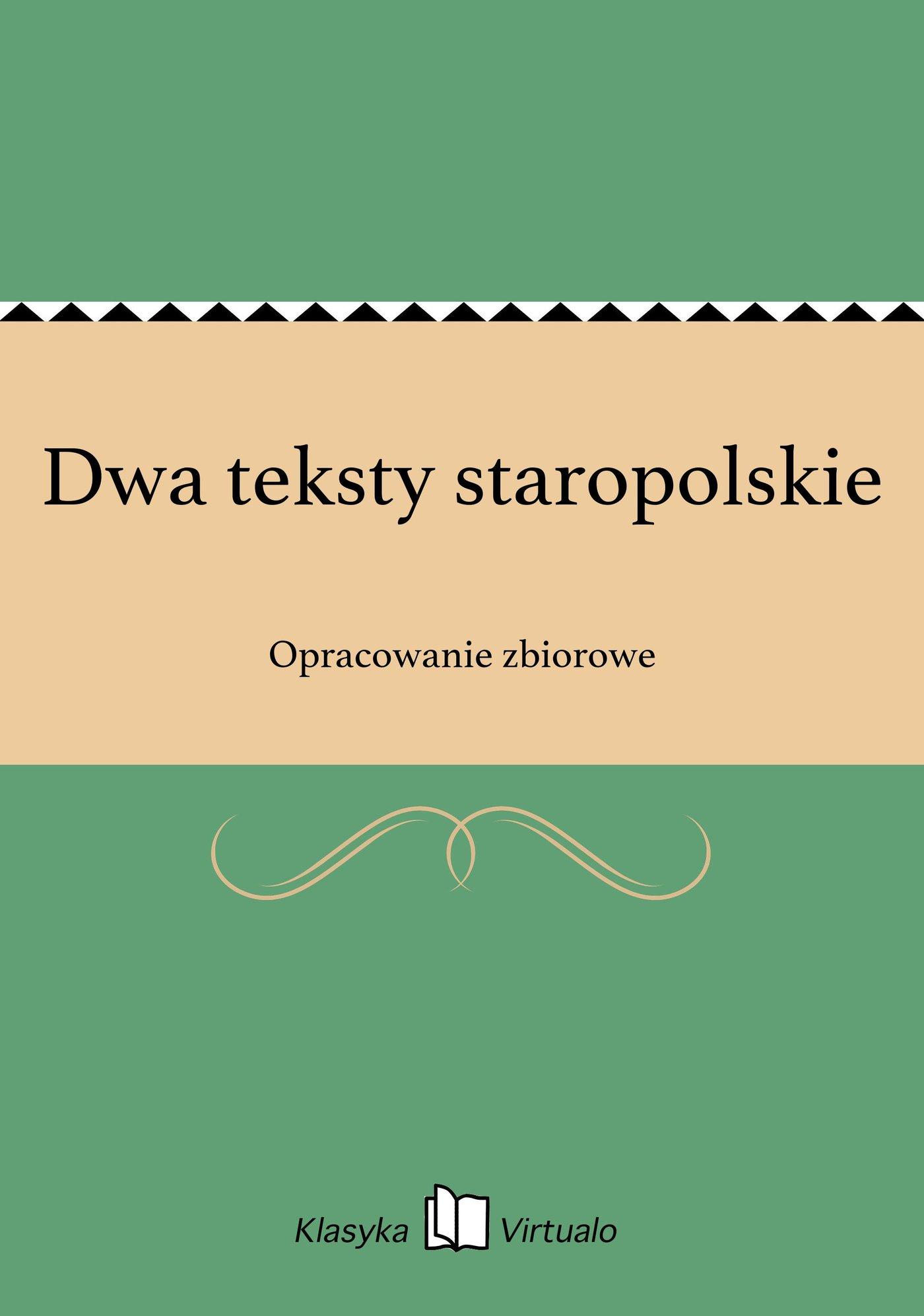 Dwa teksty staropolskie - Ebook (Książka EPUB) do pobrania w formacie EPUB