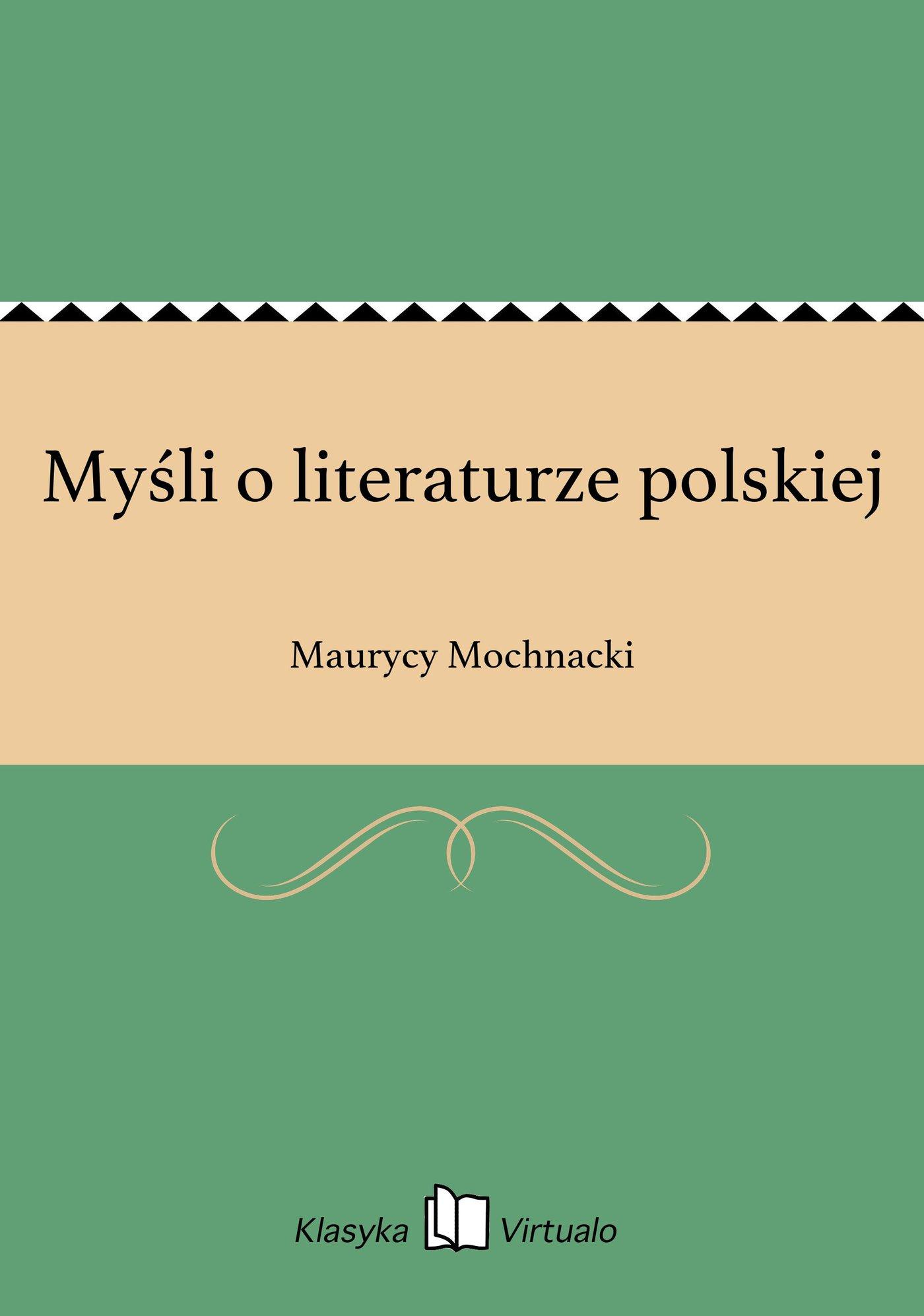 Myśli o literaturze polskiej - Ebook (Książka EPUB) do pobrania w formacie EPUB