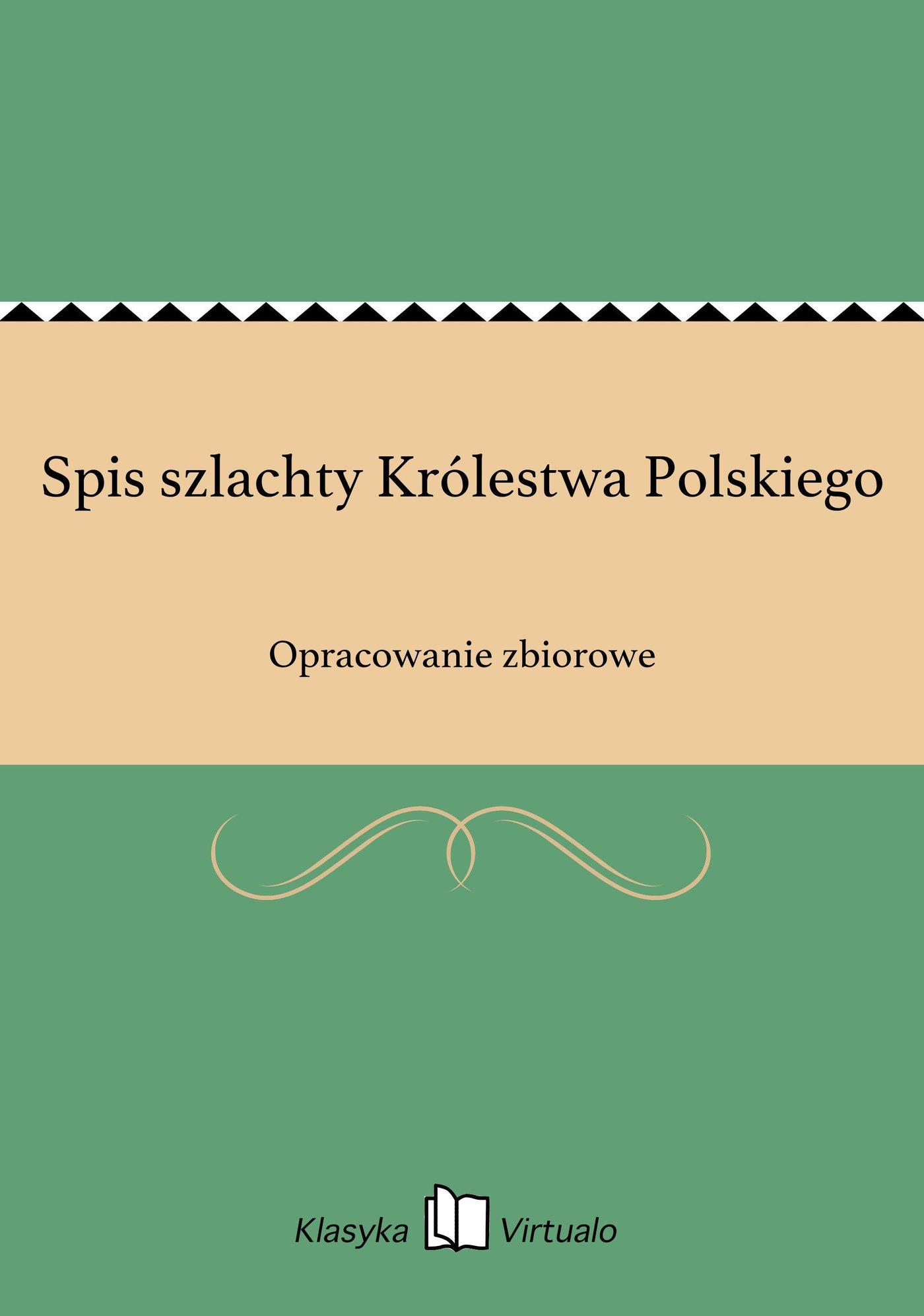 Spis szlachty Królestwa Polskiego - Ebook (Książka EPUB) do pobrania w formacie EPUB