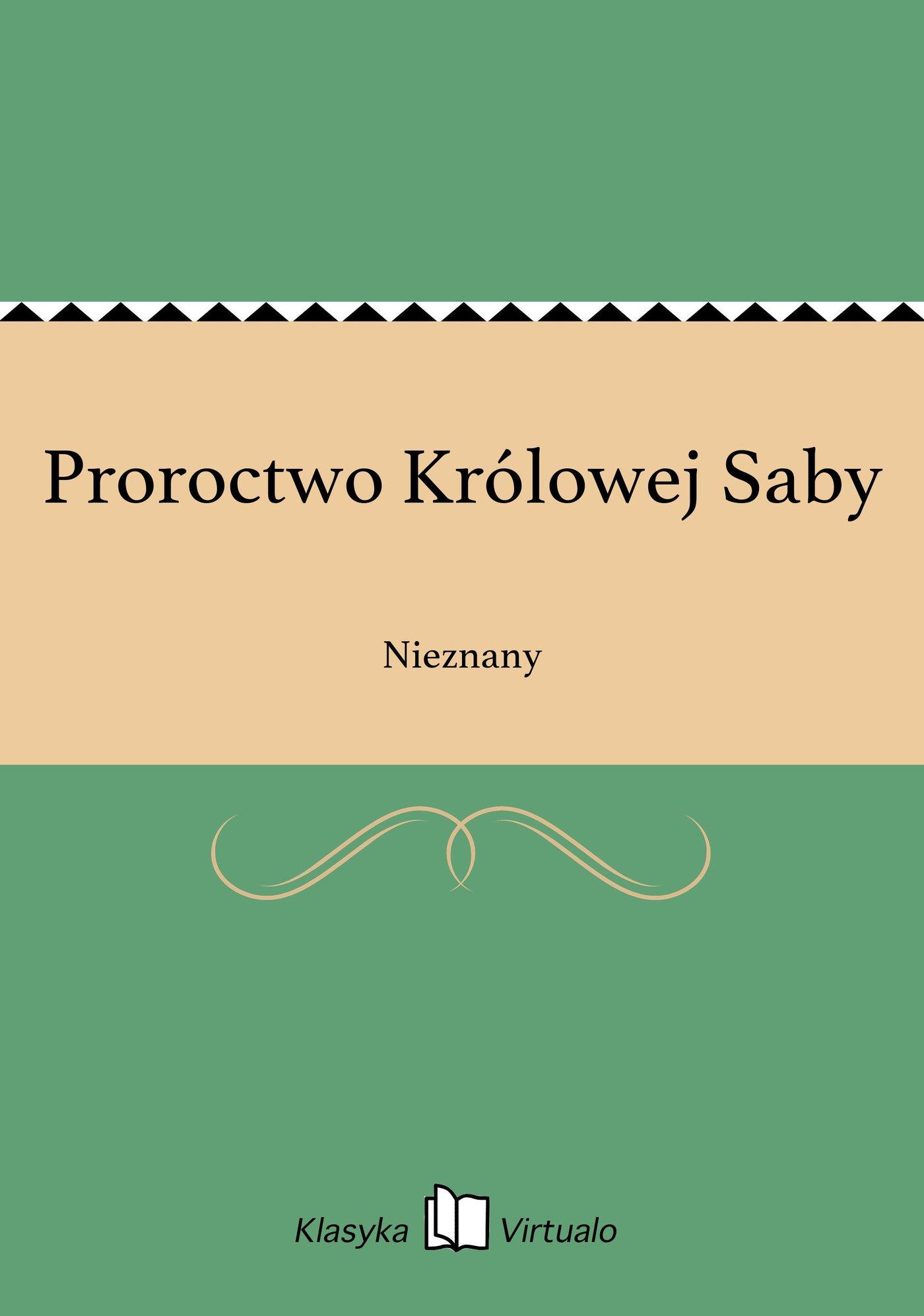 Proroctwo Królowej Saby - Ebook (Książka EPUB) do pobrania w formacie EPUB