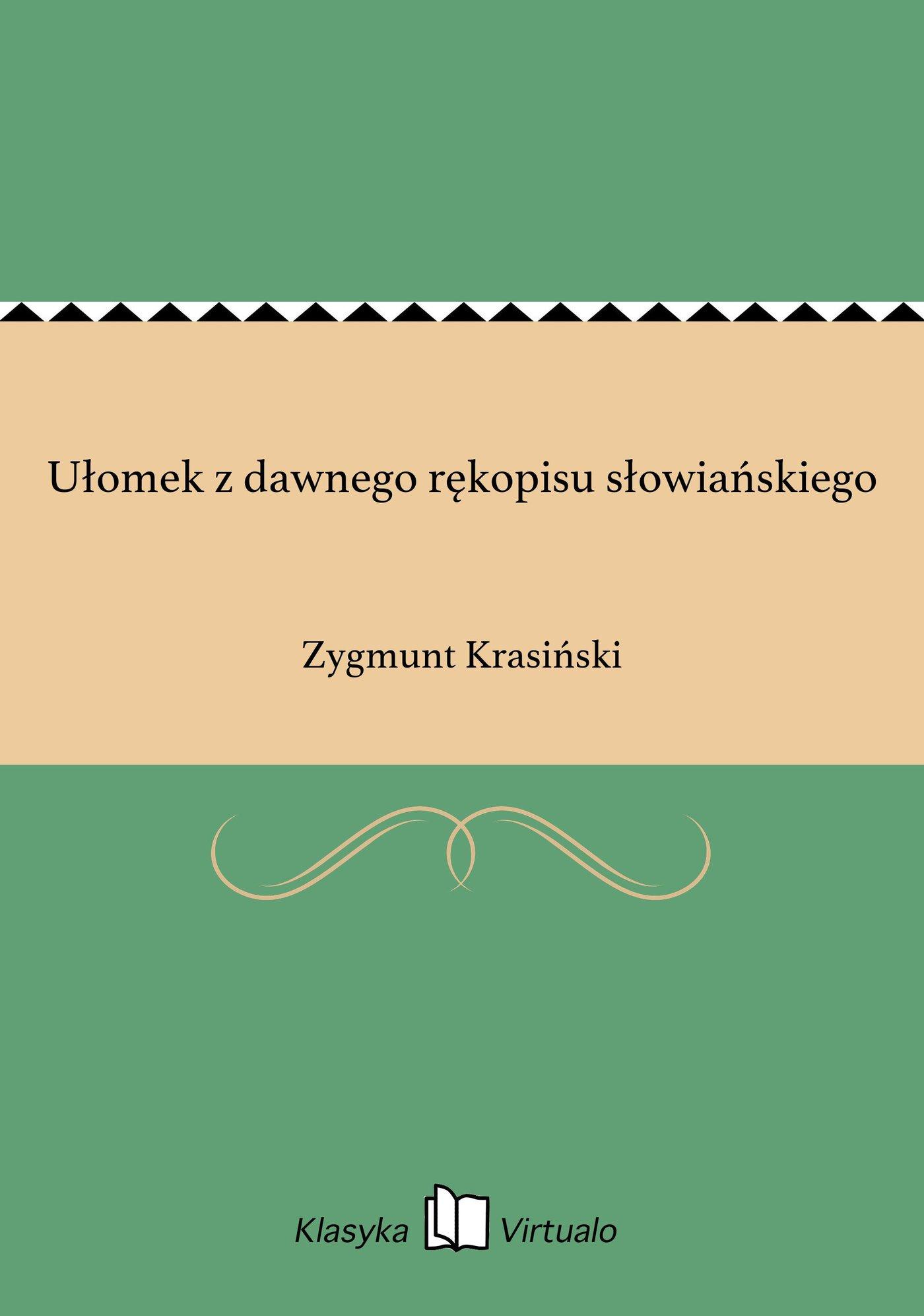 Ułomek z dawnego rękopisu słowiańskiego - Ebook (Książka EPUB) do pobrania w formacie EPUB