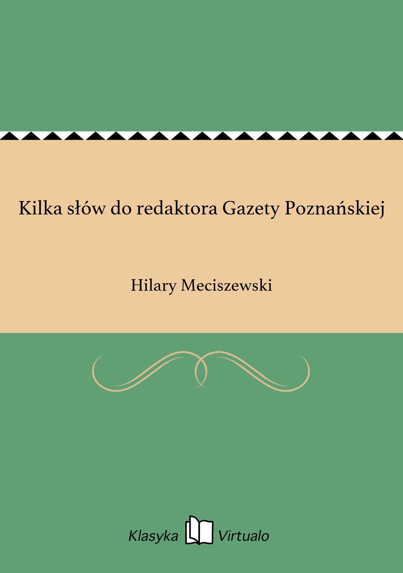 Kilka słów do redaktora Gazety Poznańskiej - Ebook (Książka EPUB) do pobrania w formacie EPUB