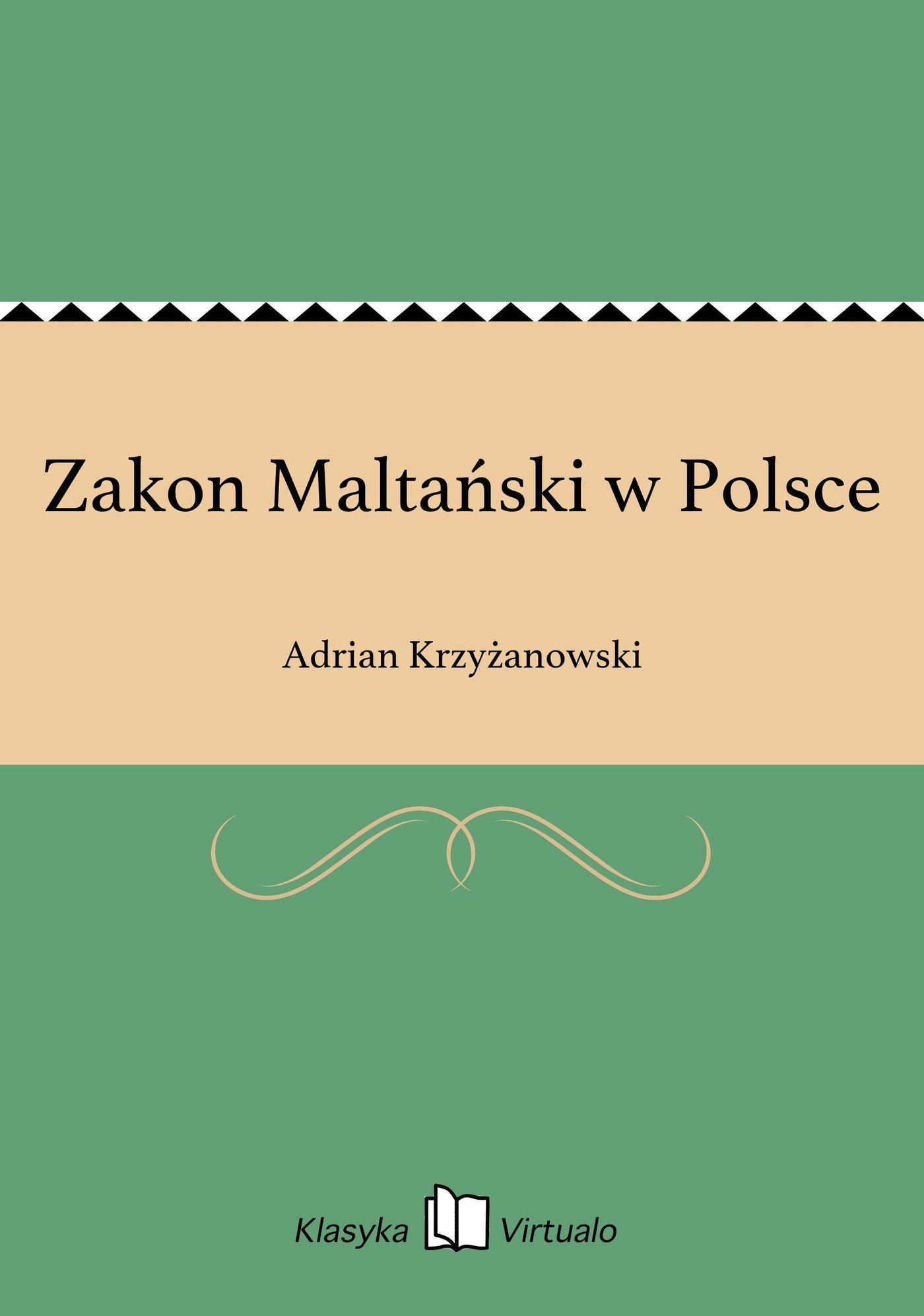 Zakon Maltański w Polsce - Ebook (Książka EPUB) do pobrania w formacie EPUB