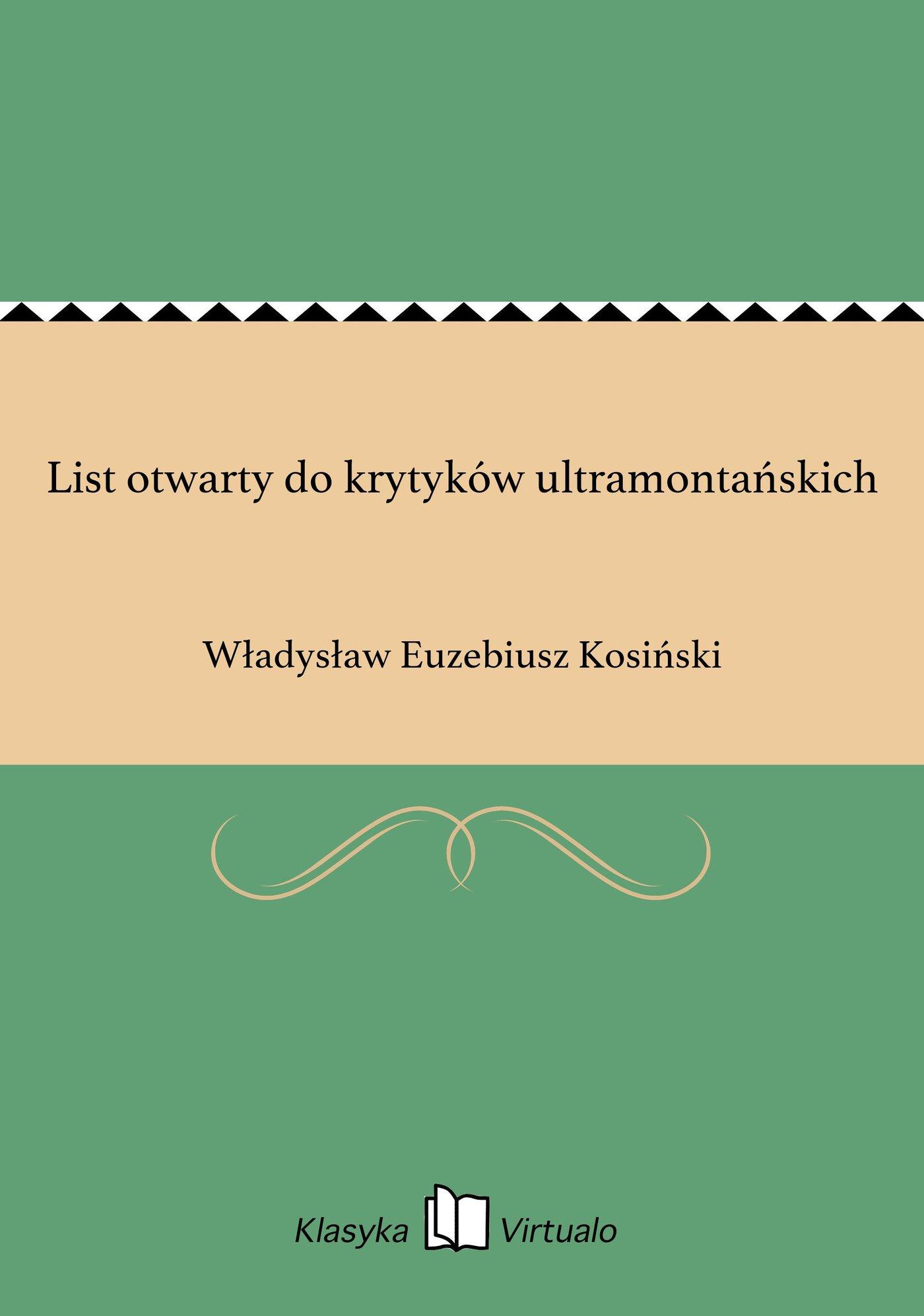 List otwarty do krytyków ultramontańskich - Ebook (Książka EPUB) do pobrania w formacie EPUB