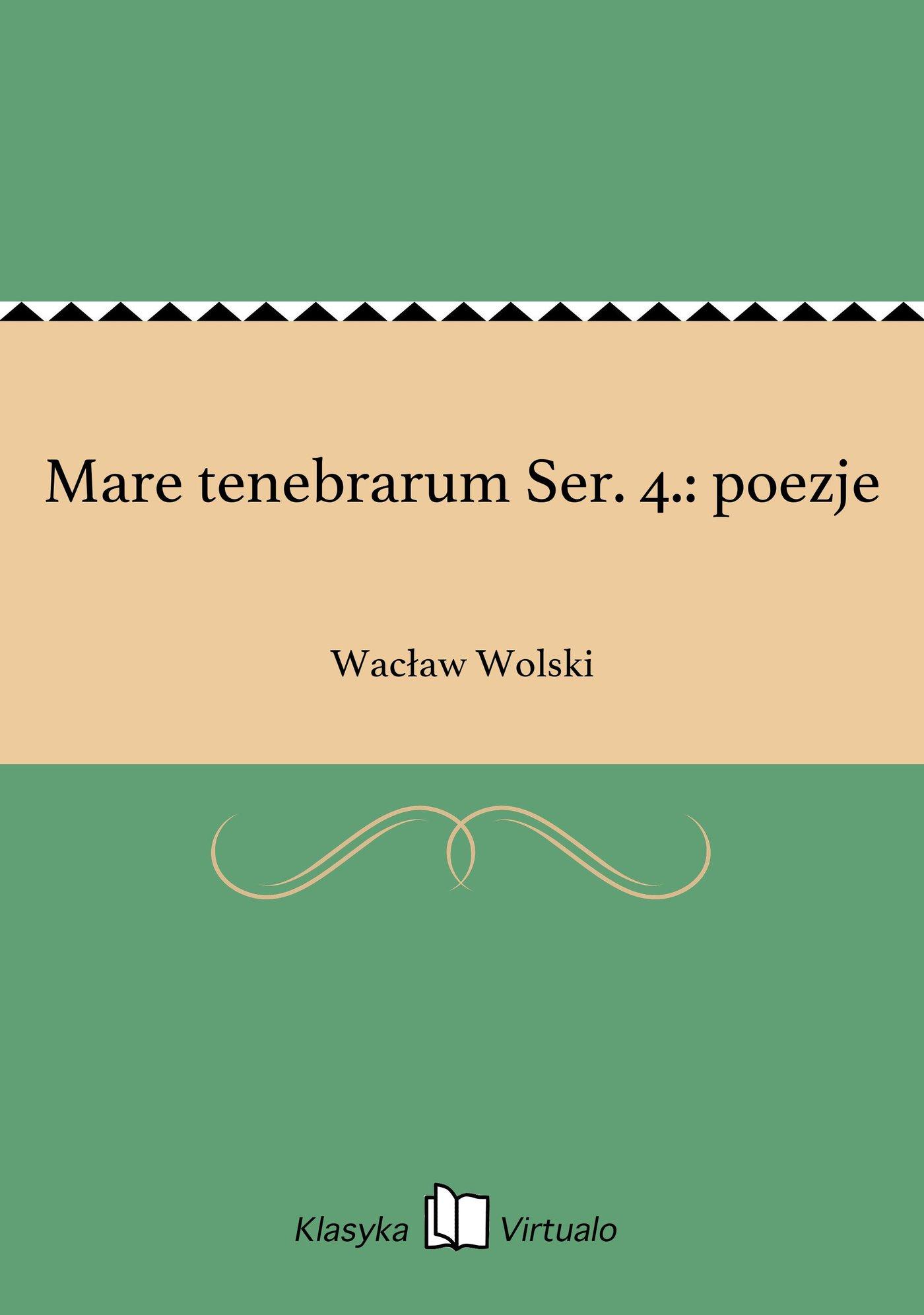 Mare tenebrarum Ser. 4.: poezje - Ebook (Książka EPUB) do pobrania w formacie EPUB