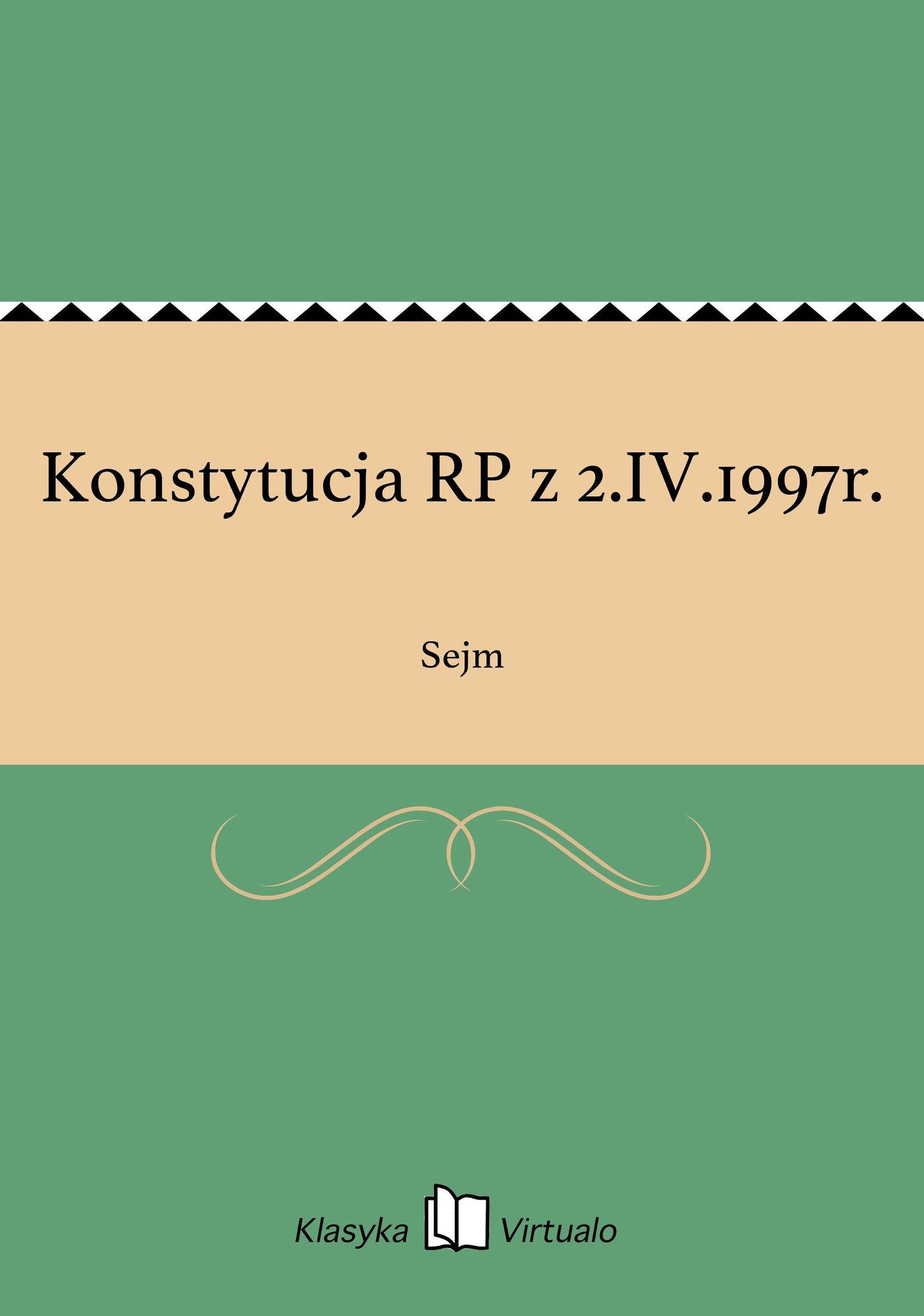 Konstytucja RP z 2.IV.1997r. - Ebook (Książka EPUB) do pobrania w formacie EPUB