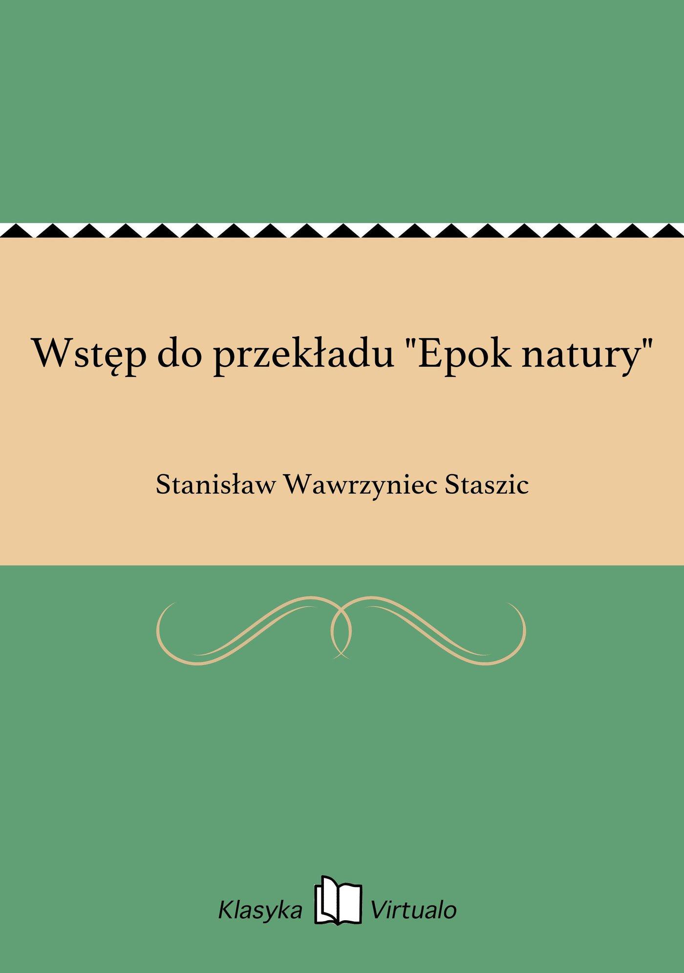 """Wstęp do przekładu """"Epok natury"""" - Ebook (Książka na Kindle) do pobrania w formacie MOBI"""