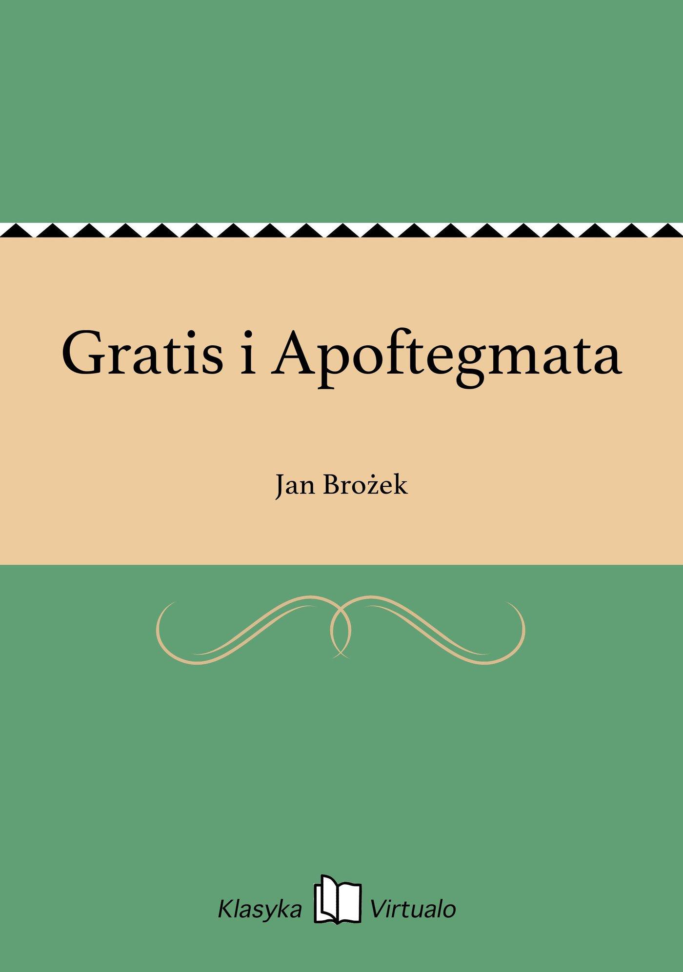 Gratis i Apoftegmata - Ebook (Książka na Kindle) do pobrania w formacie MOBI