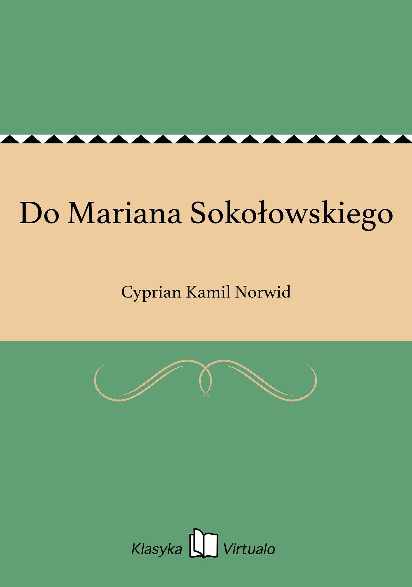 Do Mariana Sokołowskiego - Ebook (Książka EPUB) do pobrania w formacie EPUB