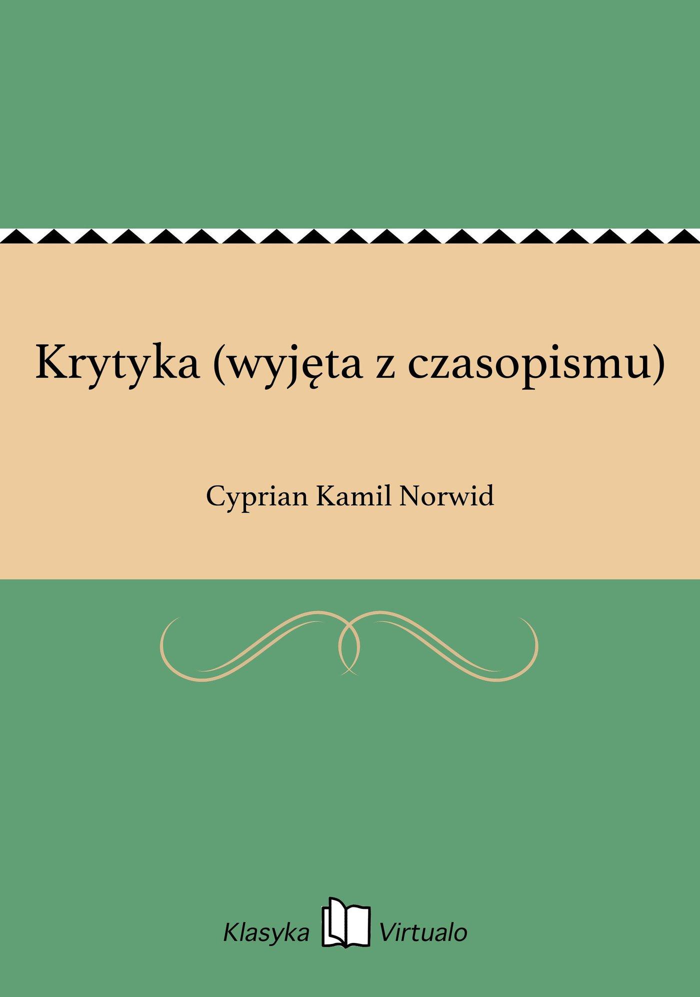 Krytyka (wyjęta z czasopismu) - Ebook (Książka EPUB) do pobrania w formacie EPUB