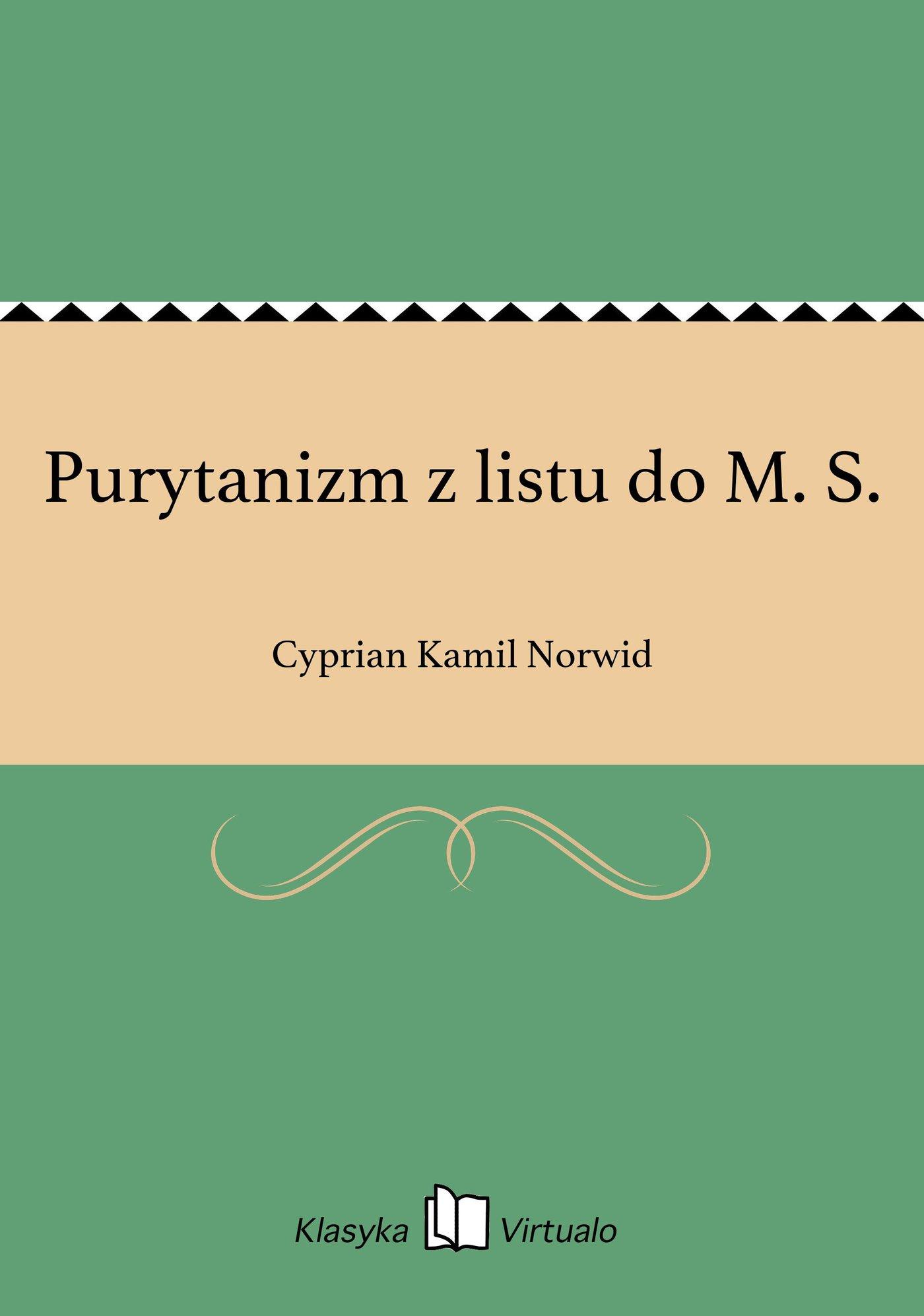 Purytanizm z listu do M. S. - Ebook (Książka EPUB) do pobrania w formacie EPUB