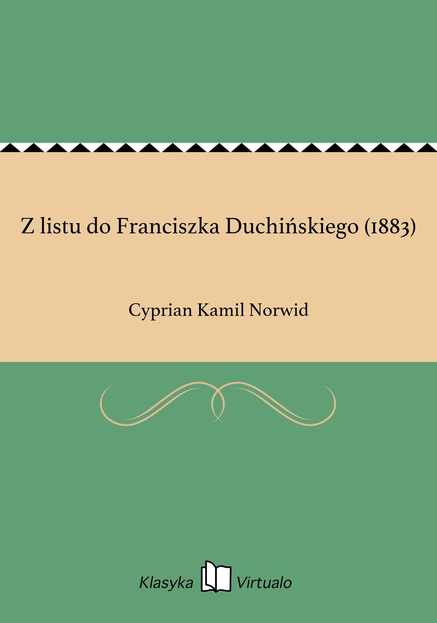 Z listu do Franciszka Duchińskiego (1883) - Ebook (Książka EPUB) do pobrania w formacie EPUB