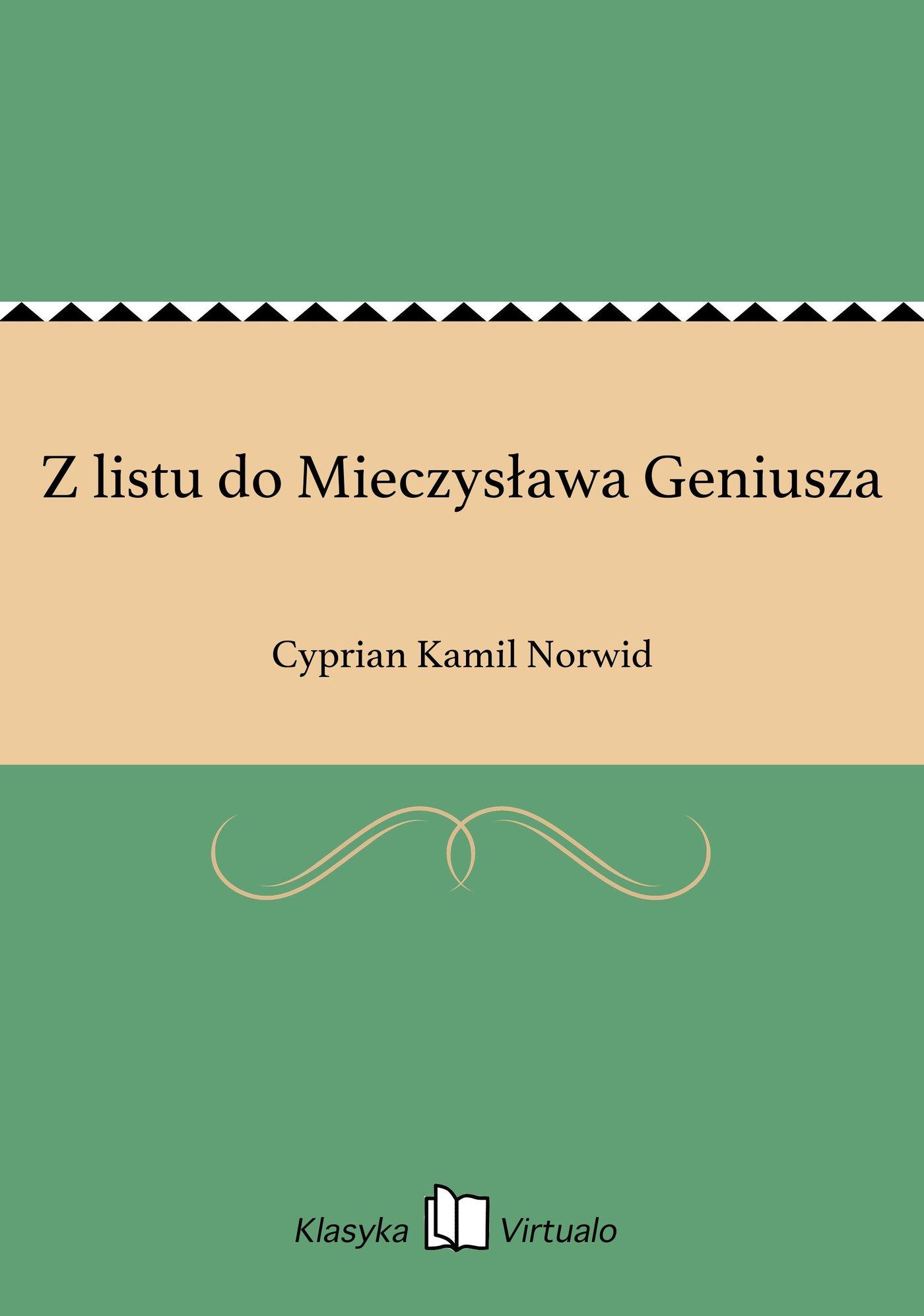 Z listu do Mieczysława Geniusza - Ebook (Książka EPUB) do pobrania w formacie EPUB