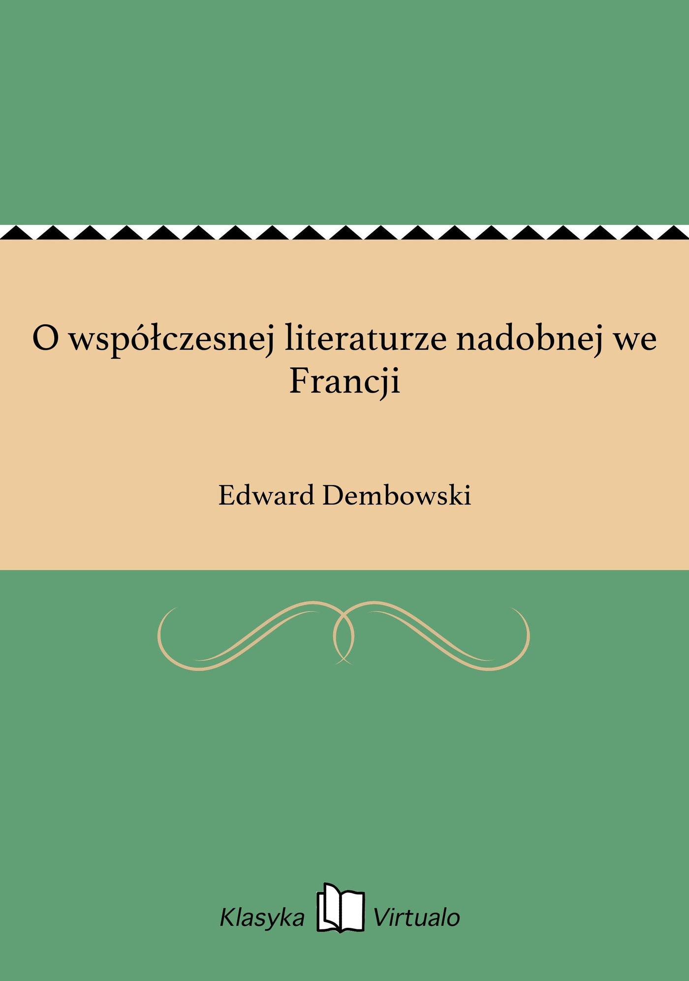 O współczesnej literaturze nadobnej we Francji - Ebook (Książka EPUB) do pobrania w formacie EPUB