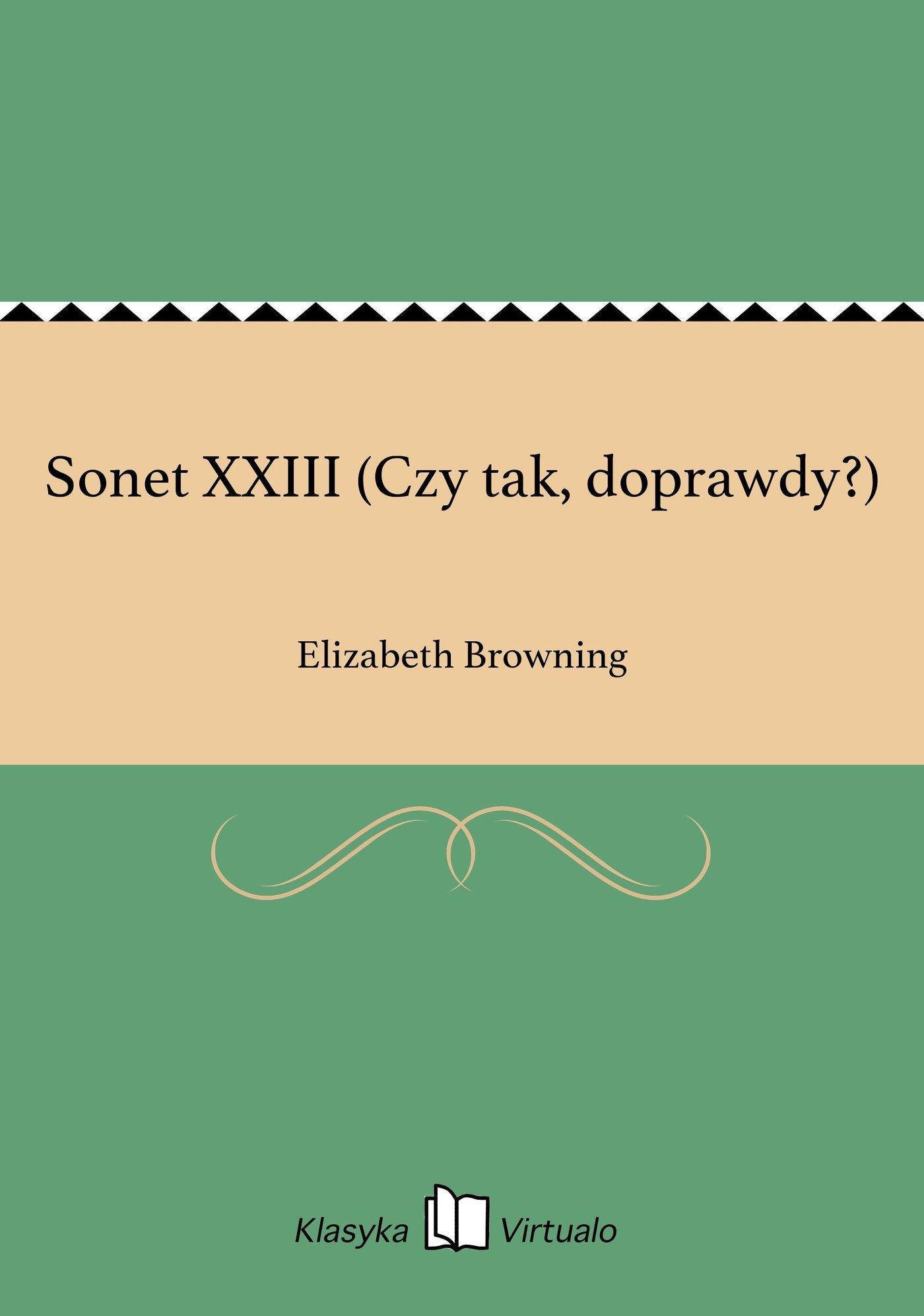Sonet XXIII (Czy tak, doprawdy?) - Ebook (Książka EPUB) do pobrania w formacie EPUB