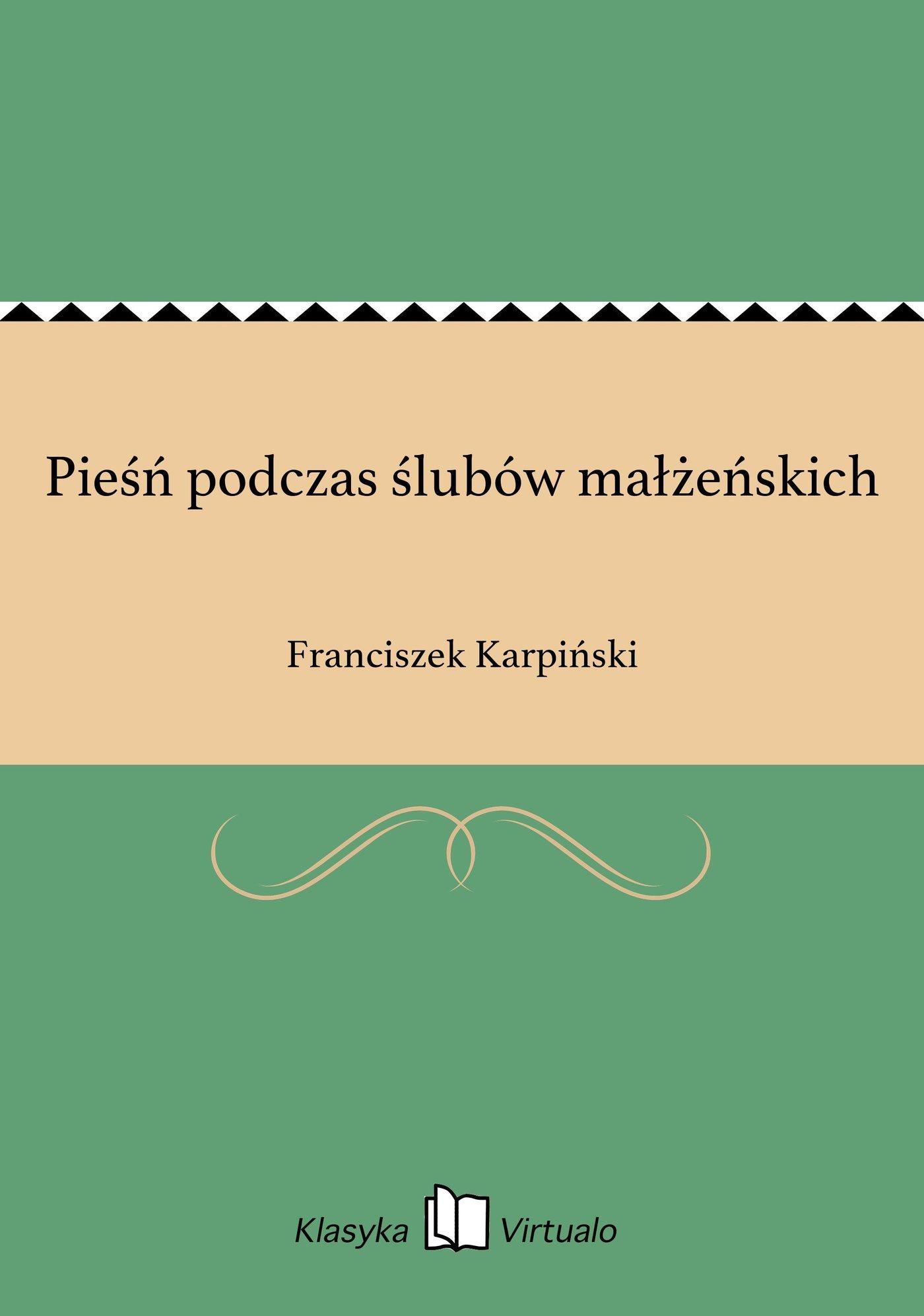 Pieśń podczas ślubów małżeńskich - Ebook (Książka EPUB) do pobrania w formacie EPUB
