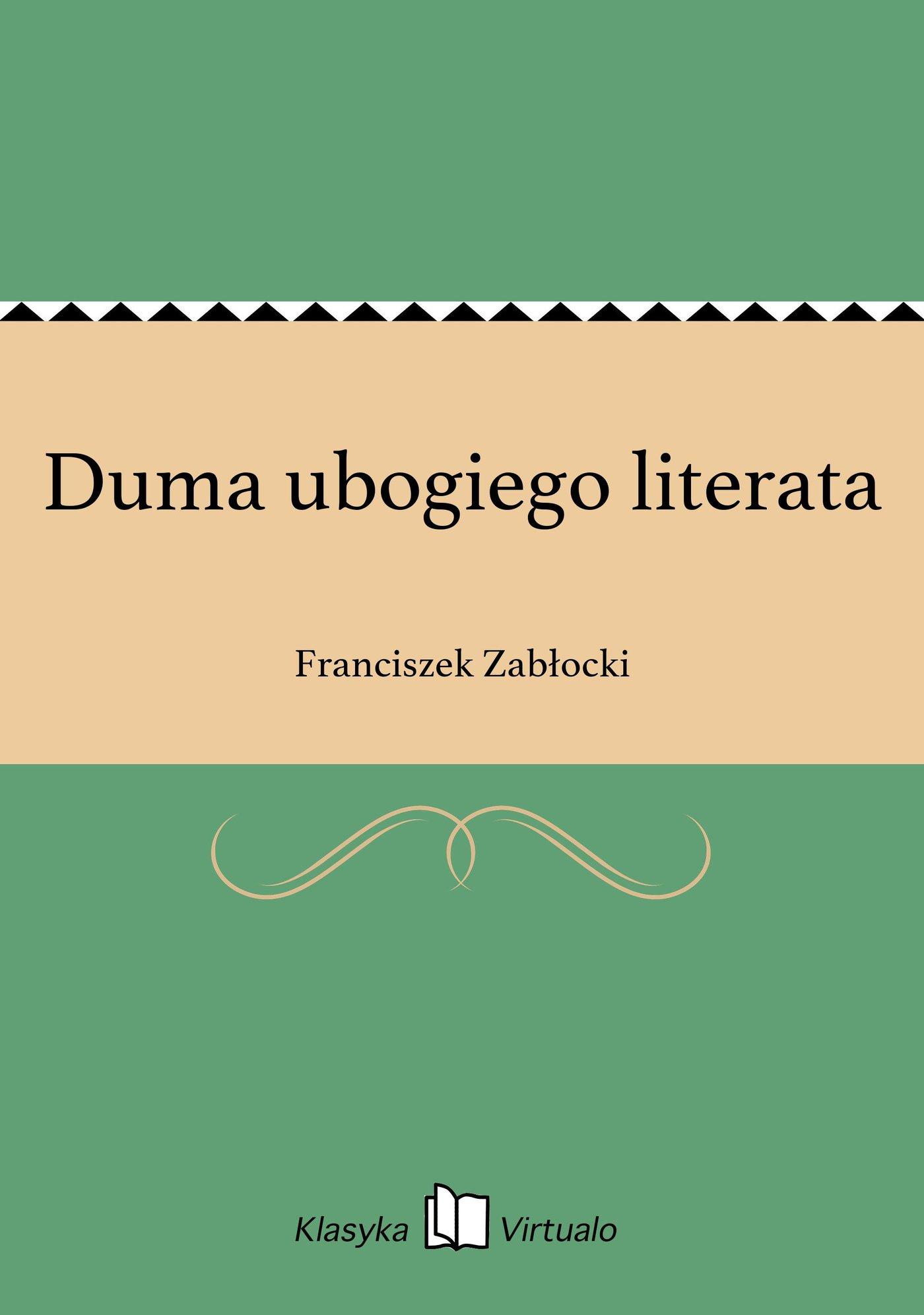 Duma ubogiego literata - Ebook (Książka EPUB) do pobrania w formacie EPUB