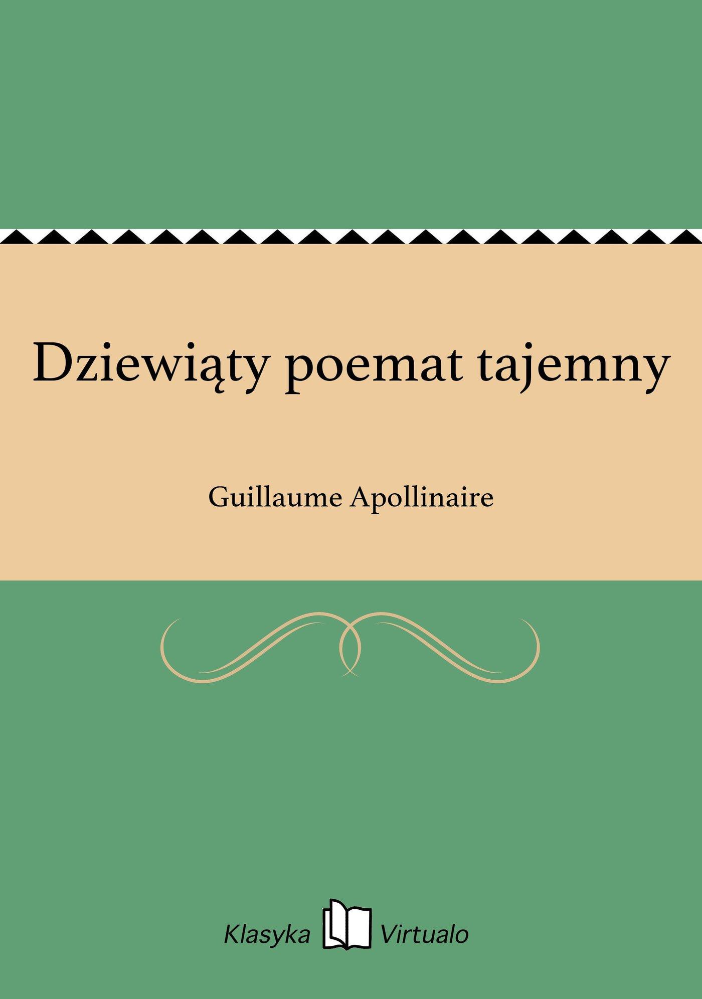 Dziewiąty poemat tajemny - Ebook (Książka EPUB) do pobrania w formacie EPUB