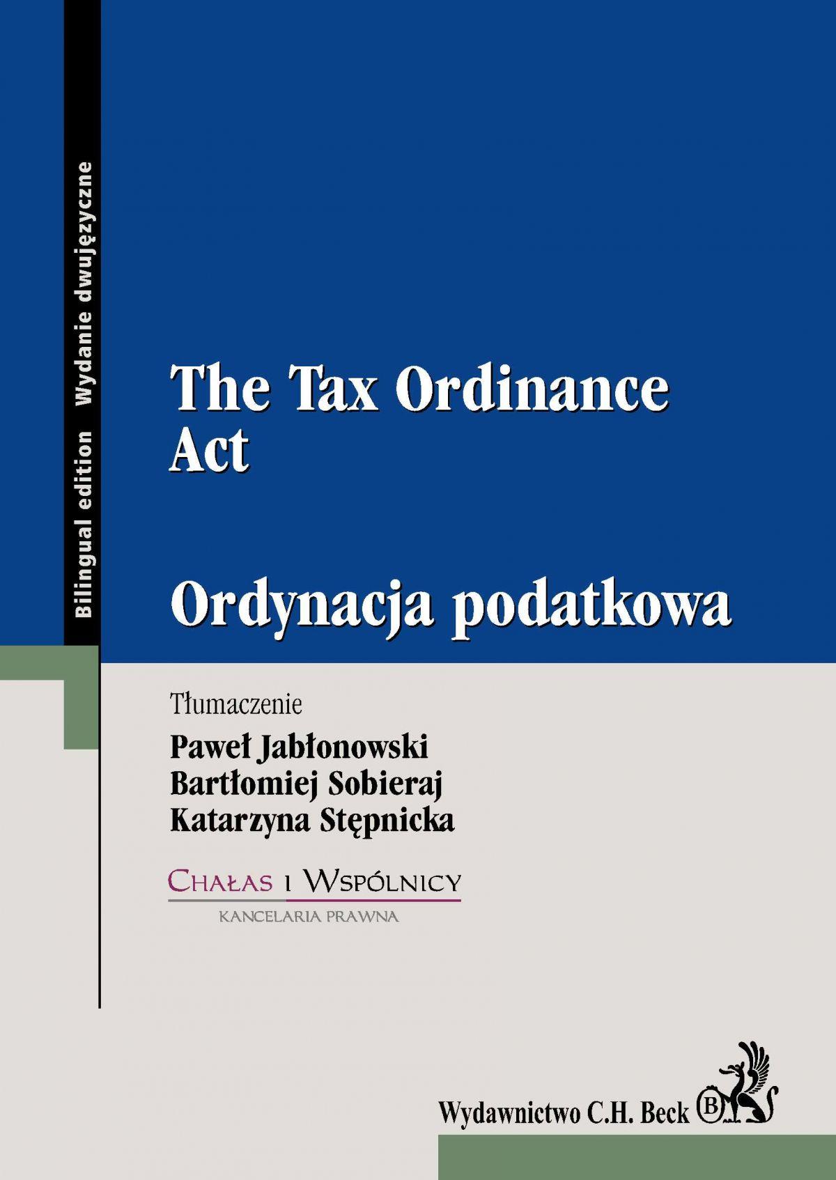 Ordynacja podatkowa. The Tax Ordinance Act - Ebook (Książka PDF) do pobrania w formacie PDF