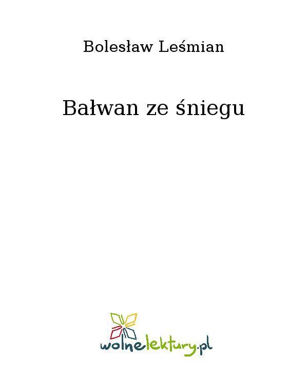 Bałwan ze śniegu - Ebook (Książka EPUB) do pobrania w formacie EPUB
