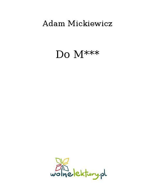 Do M*** - Ebook (Książka EPUB) do pobrania w formacie EPUB