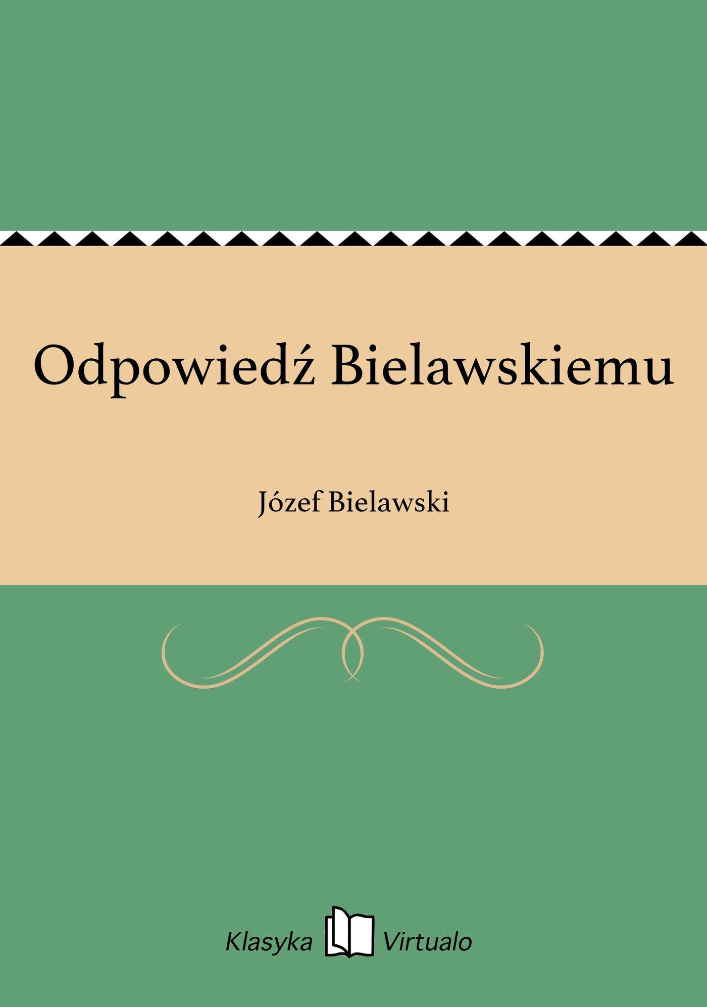 Odpowiedź Bielawskiemu - Ebook (Książka EPUB) do pobrania w formacie EPUB