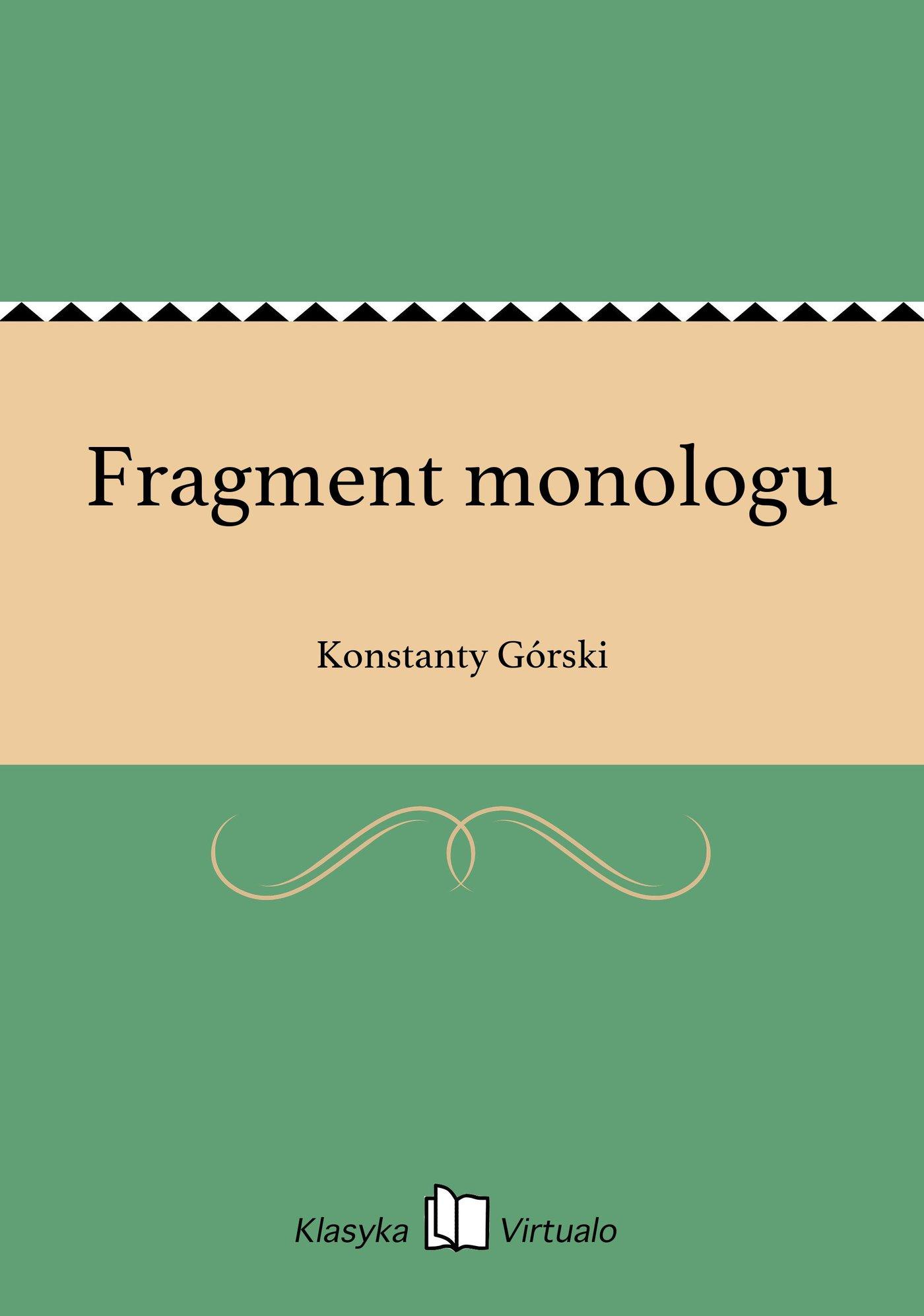 Fragment monologu - Ebook (Książka EPUB) do pobrania w formacie EPUB